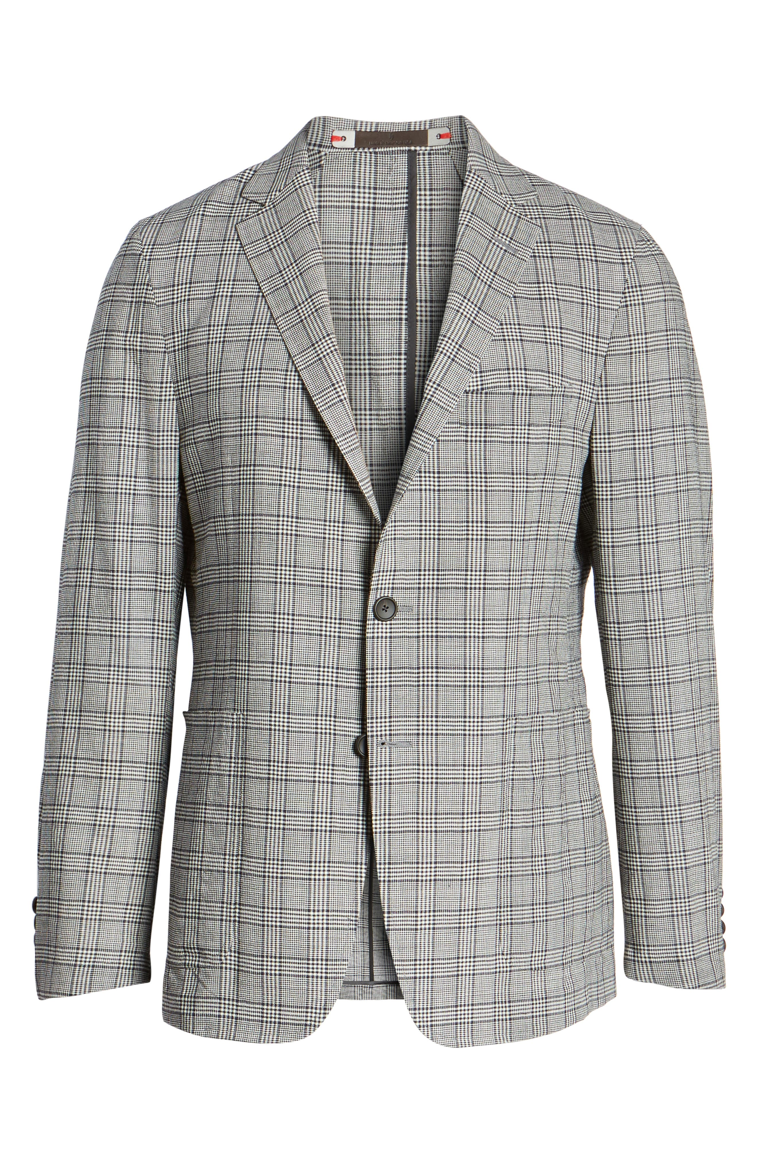 Modern Fit Plaid Wool Sport Coat,                             Alternate thumbnail 5, color,