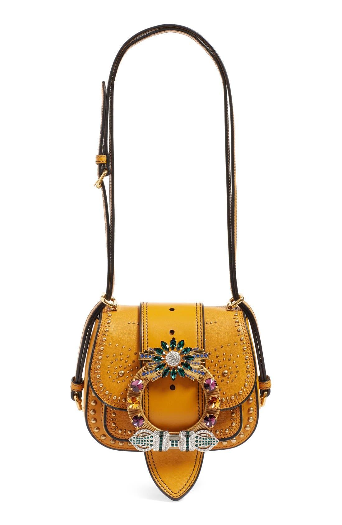 MIU MIU,                             'Dahlia' Goatskin Leather Saddle Bag,                             Main thumbnail 1, color,                             814
