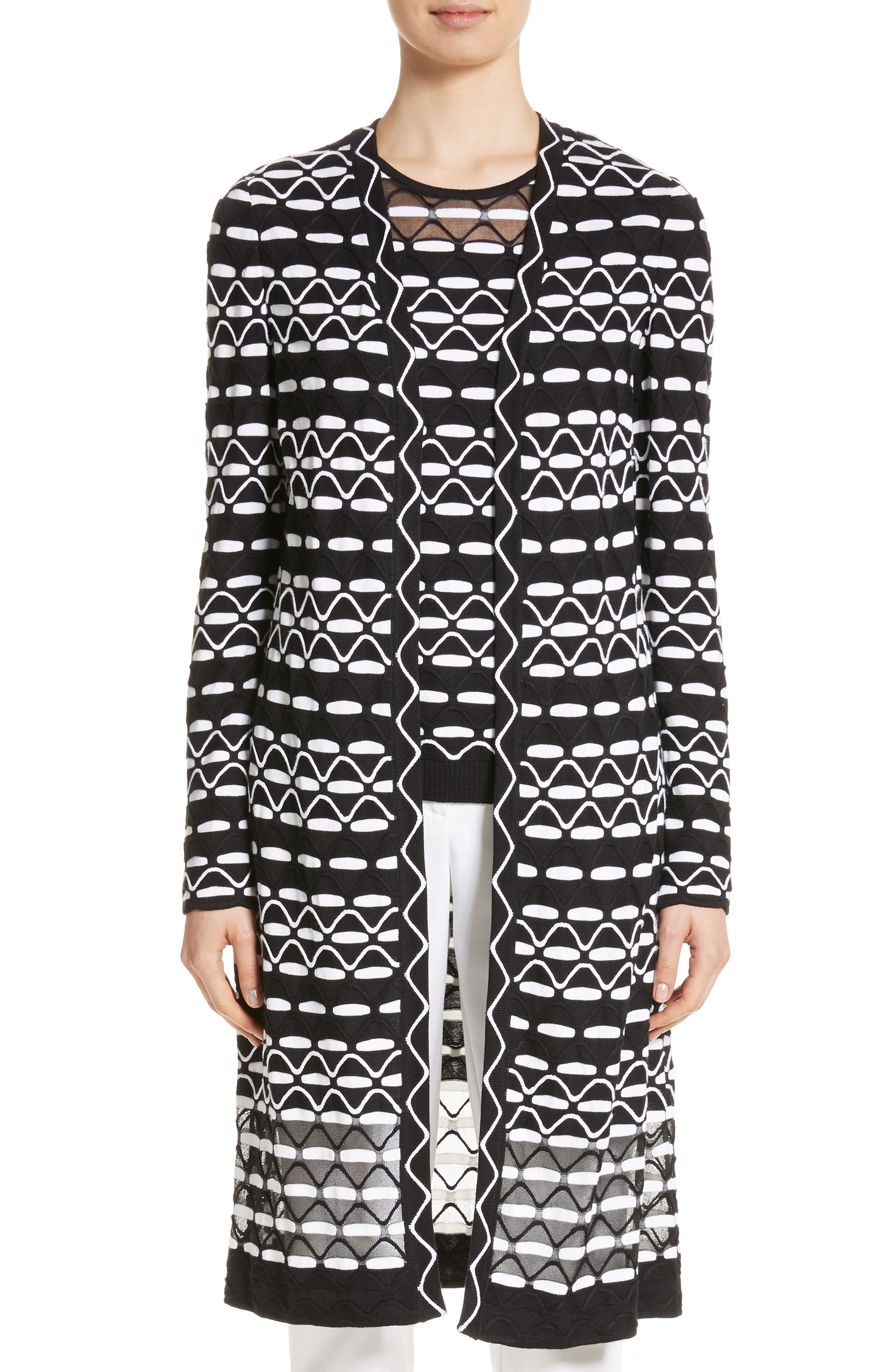 Textural Wave Knit Cardigan,                         Main,                         color, 001