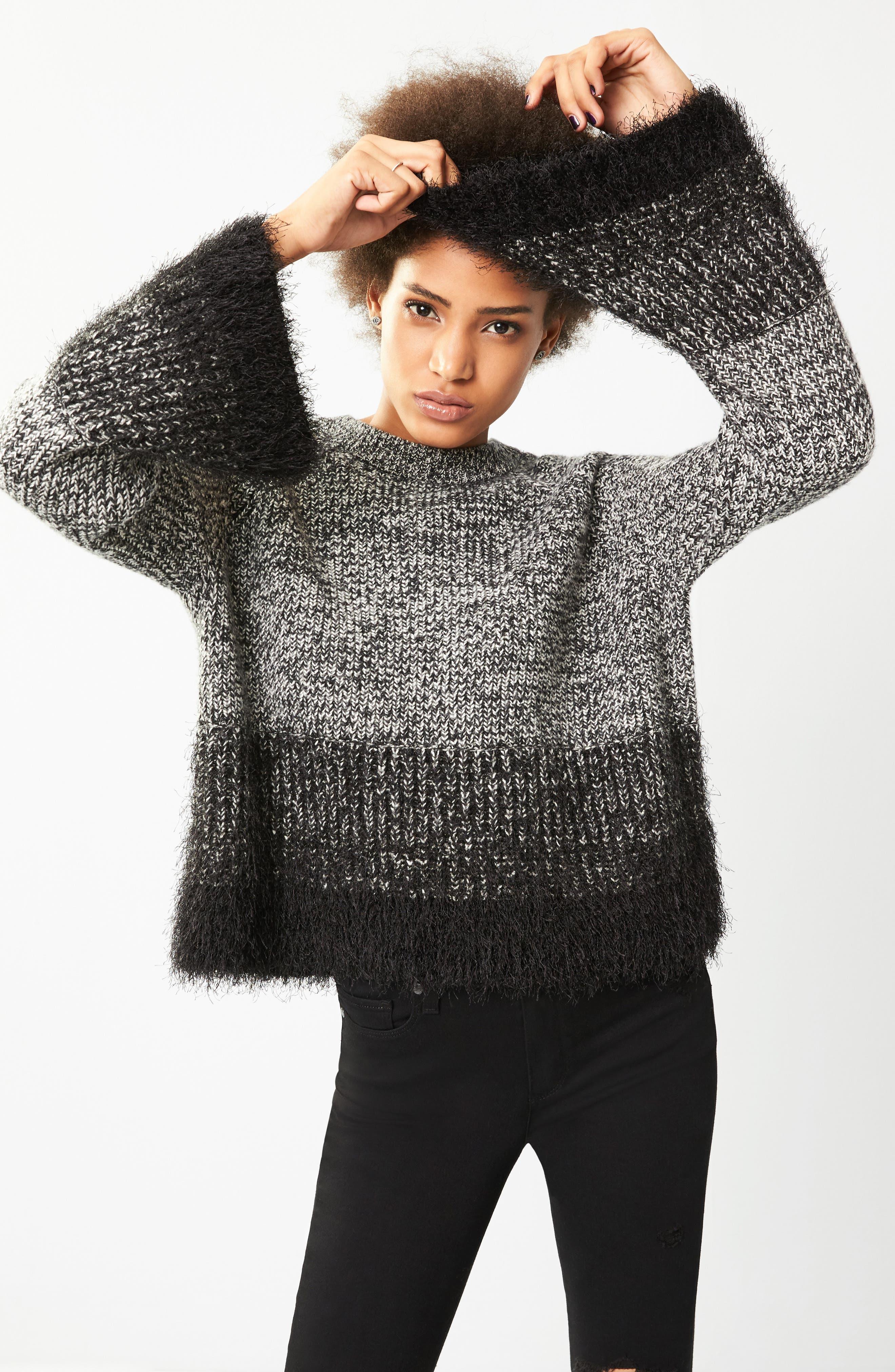Eyelash Fringe Sweater,                             Alternate thumbnail 8, color,                             006