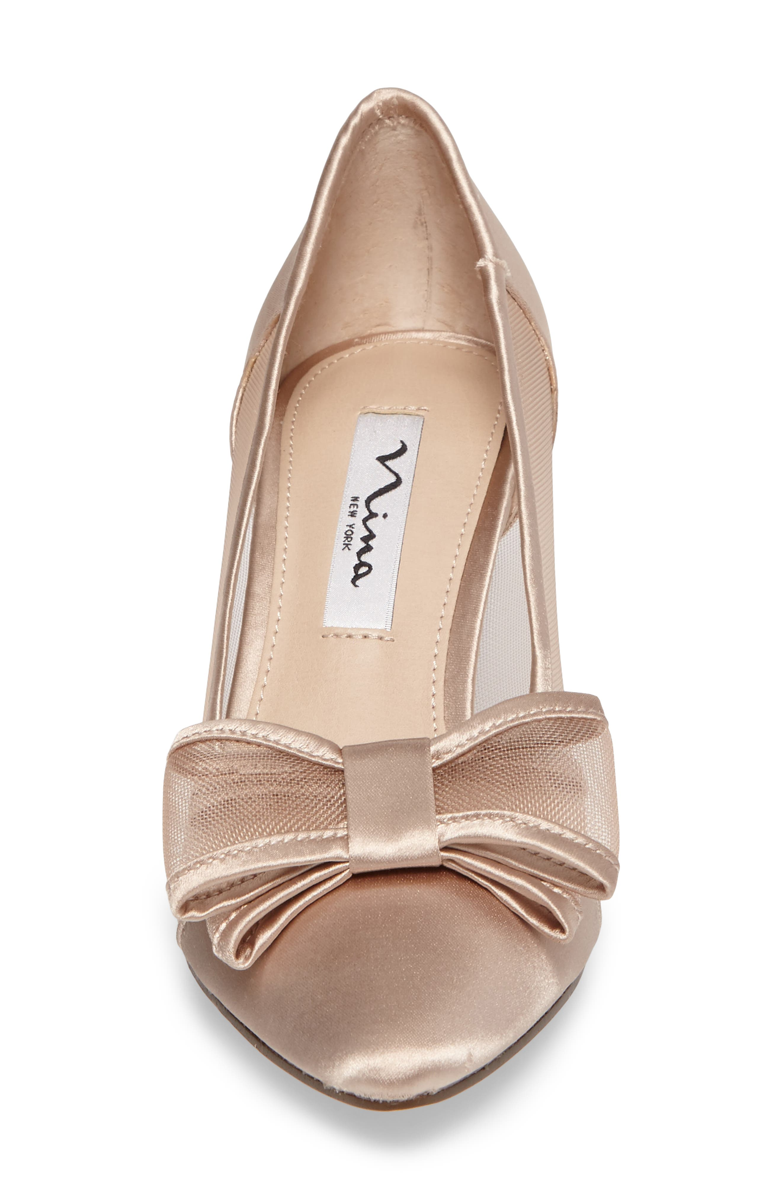 Bianca Pointy Toe Pump,                             Alternate thumbnail 4, color,                             CHAMPAGNE SATIN