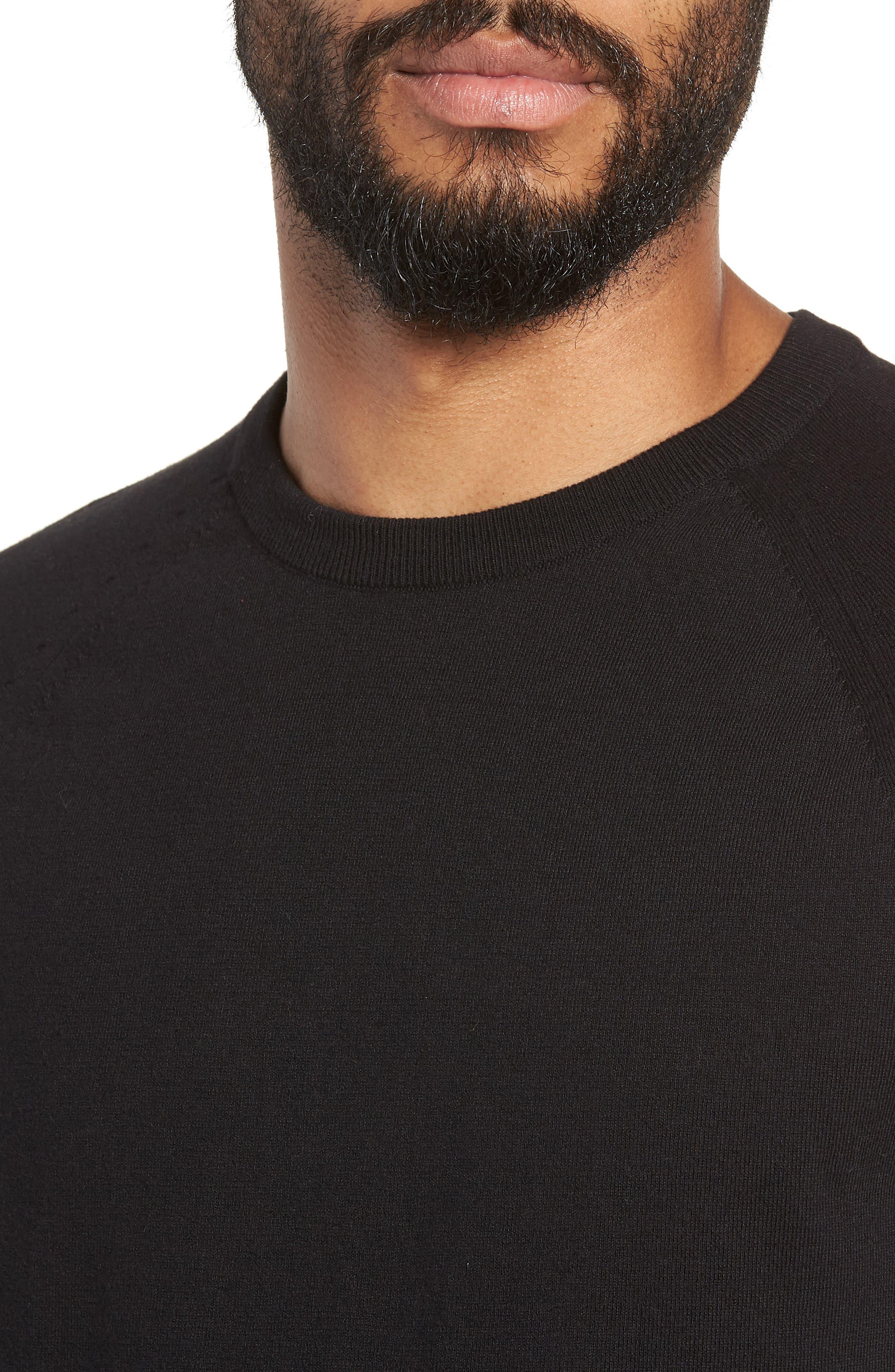 Regular Fit Stretch Cotton Crewneck Sweater,                             Alternate thumbnail 4, color,                             BLACK