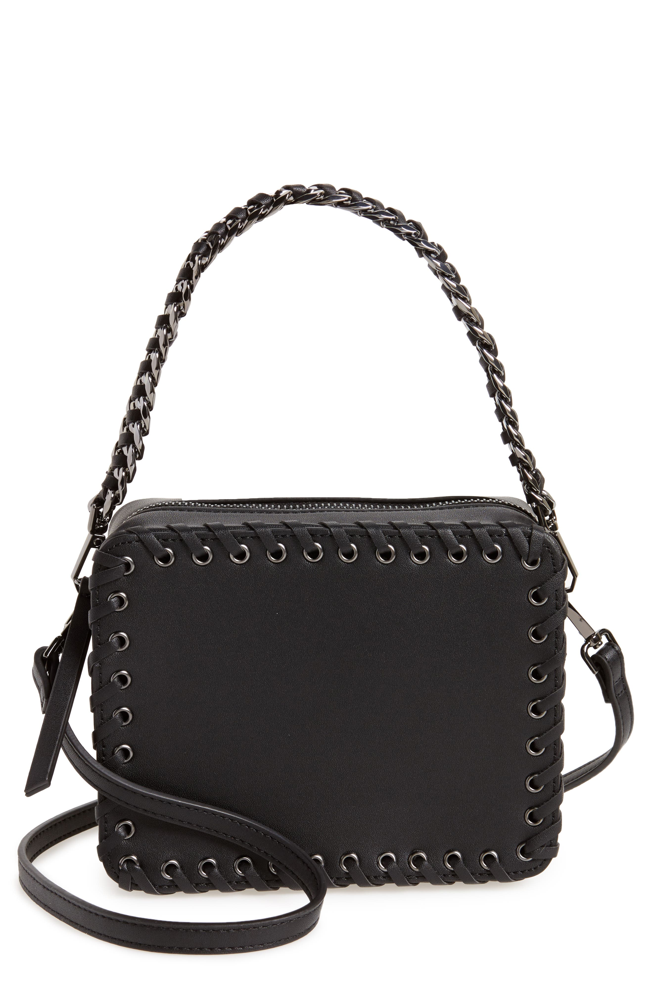 Rogue Whipstitch Faux Leather Crossbody Bag,                         Main,                         color, 001