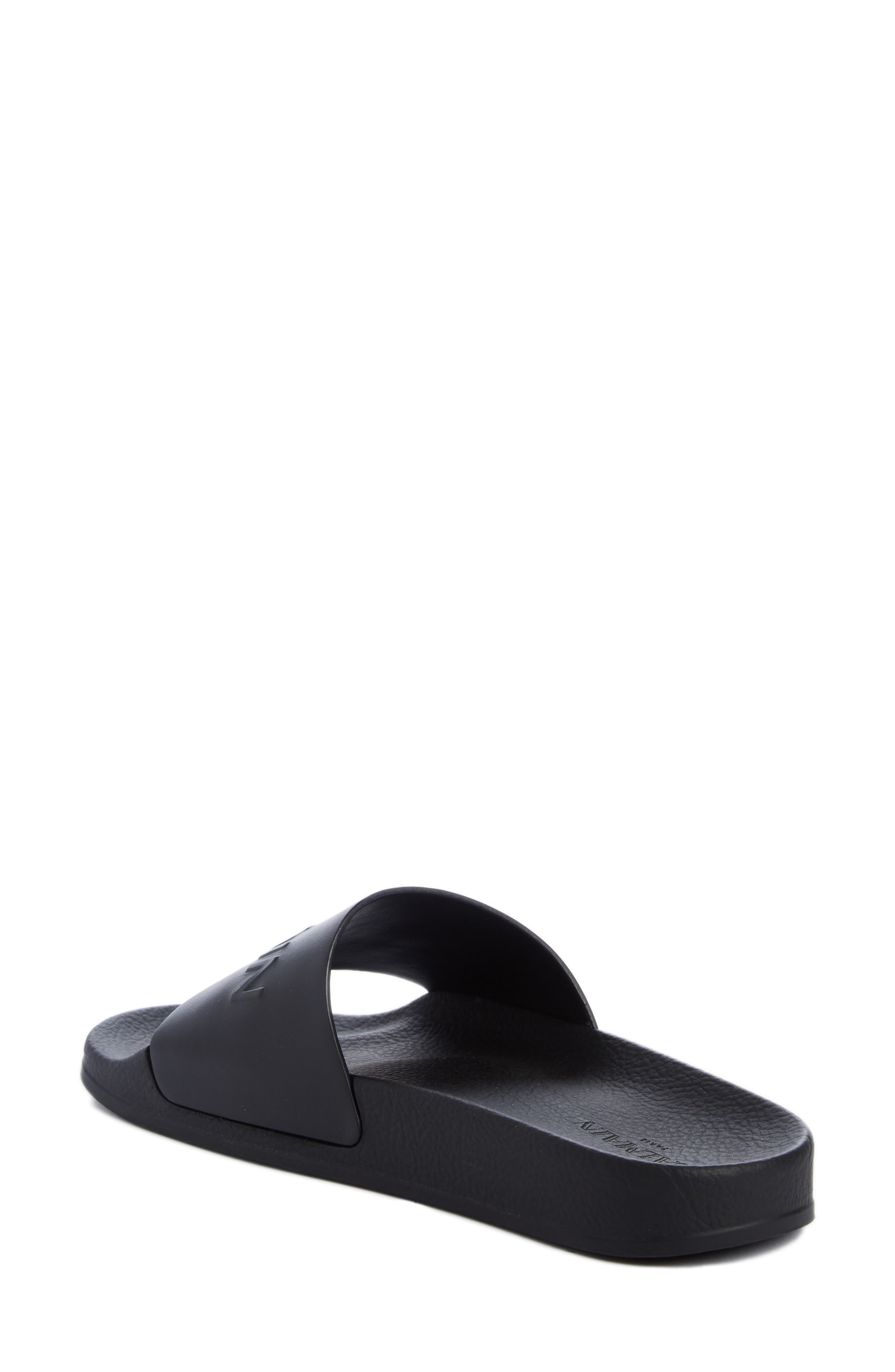 Calypso Logo Strap Slide Sandal,                             Alternate thumbnail 2, color,                             BLACK