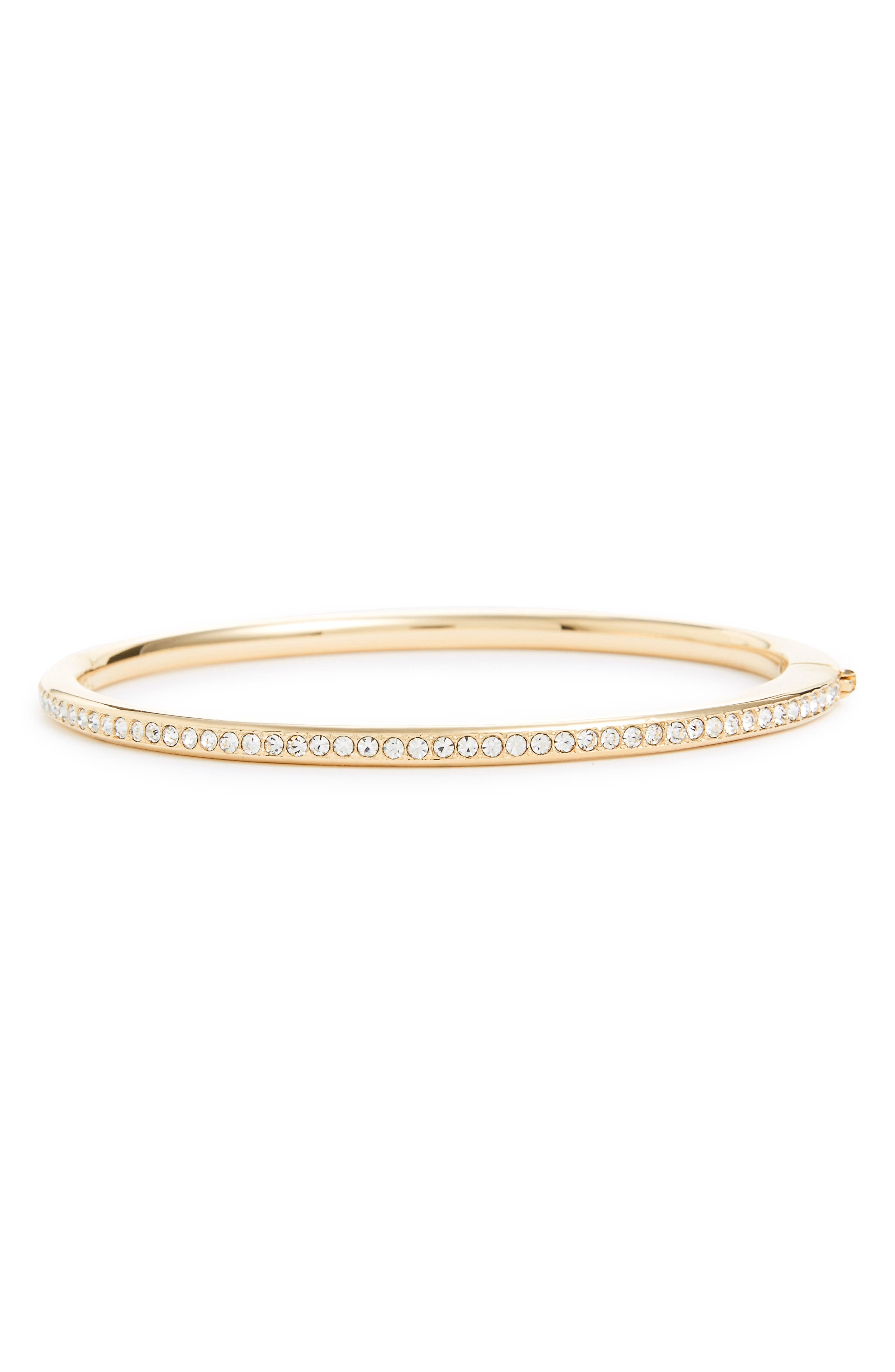 NADRI Channel Set Crystal Hinged Bangle, Main, color, GOLD/ CLEAR CRYSTAL