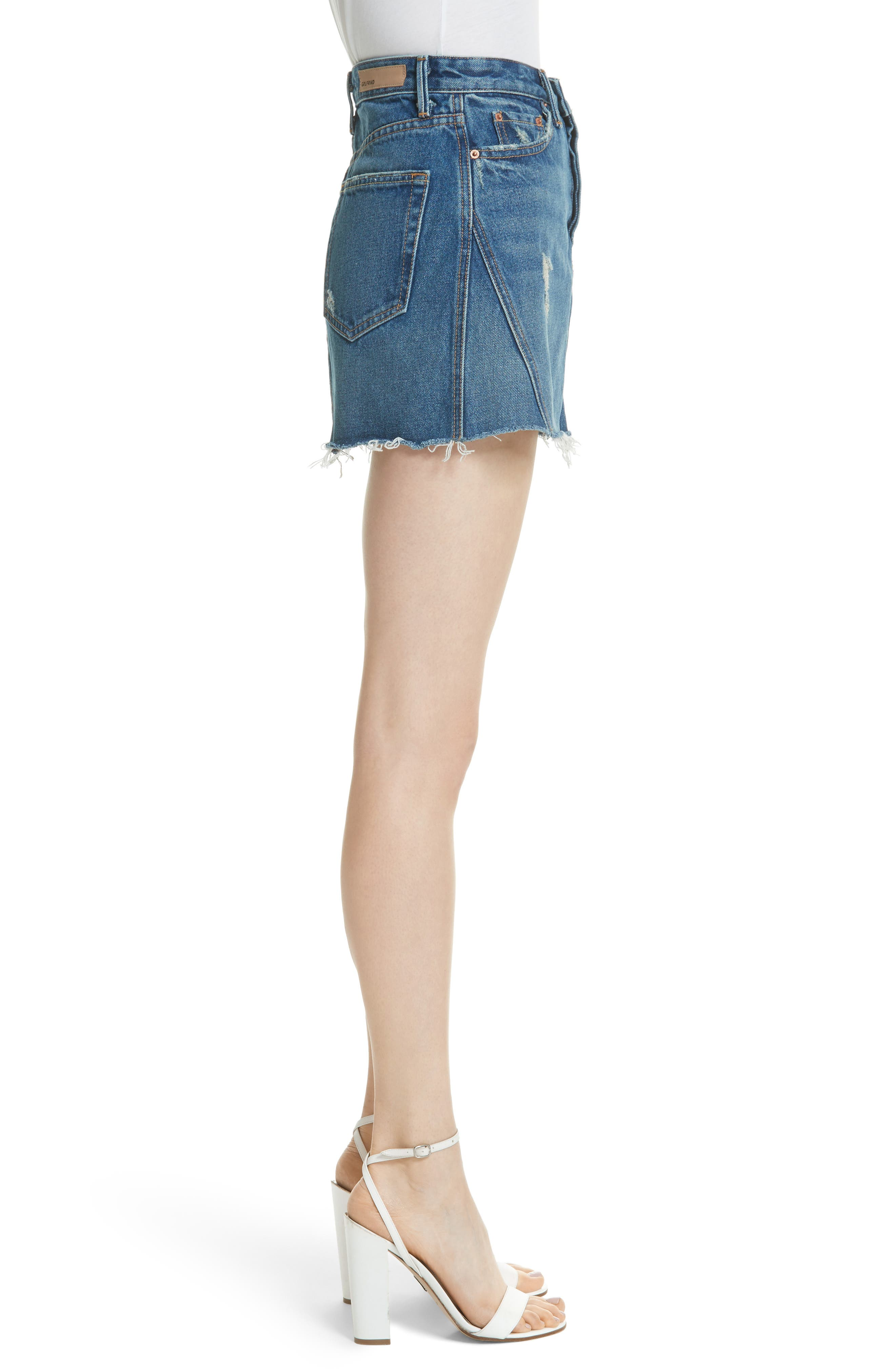 Eva Denim A-Frame Gusset Skirt,                             Alternate thumbnail 3, color,                             WALK THIS WAY