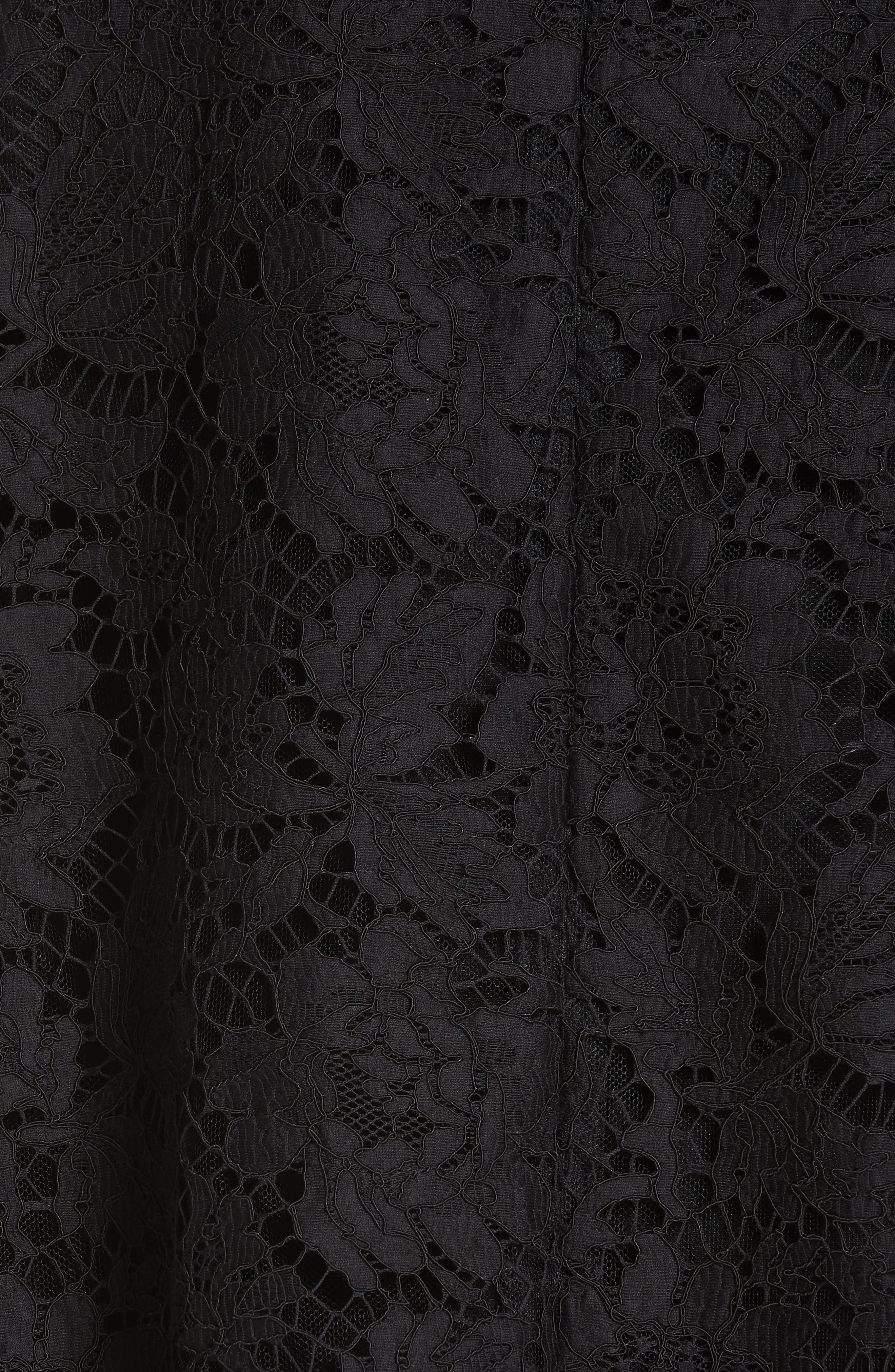 Contrast Collar Lace & Crepe Couture Dress,                             Alternate thumbnail 6, color,                             BLACK