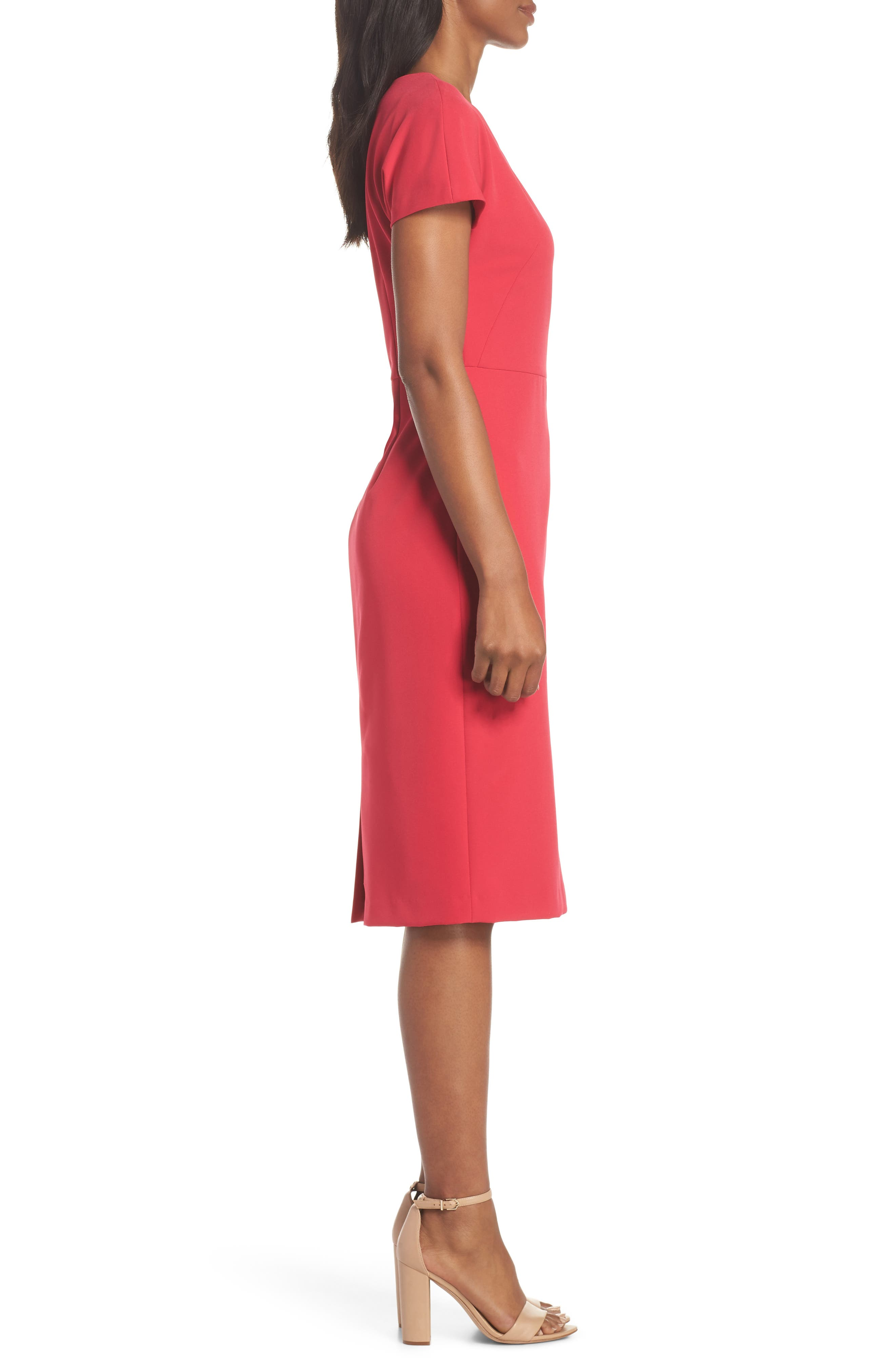Scallop Sheath Dress,                             Alternate thumbnail 3, color,                             650