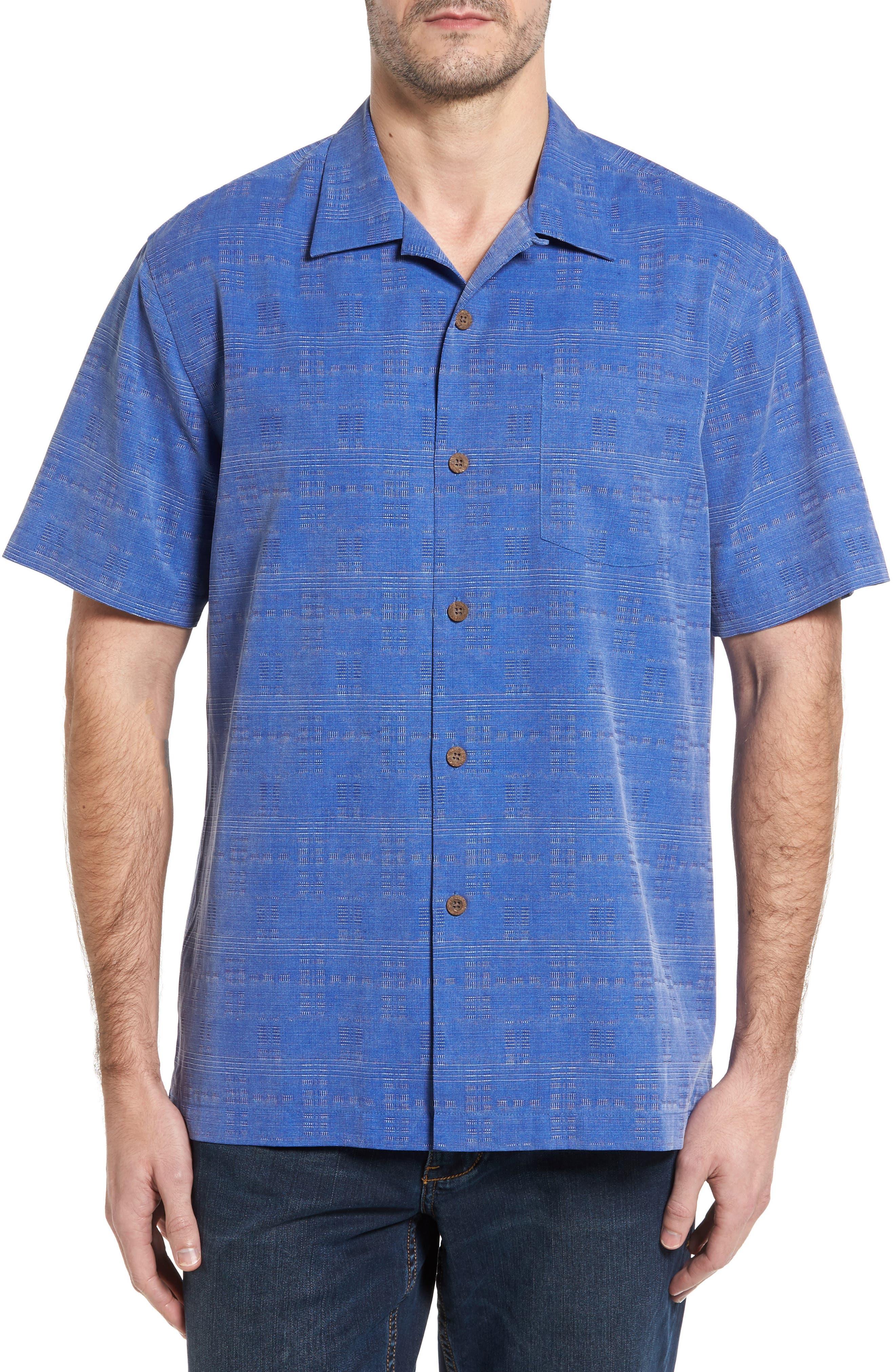 'Geo-Rific Jacquard' Original Fit Silk Camp Shirt,                             Main thumbnail 7, color,