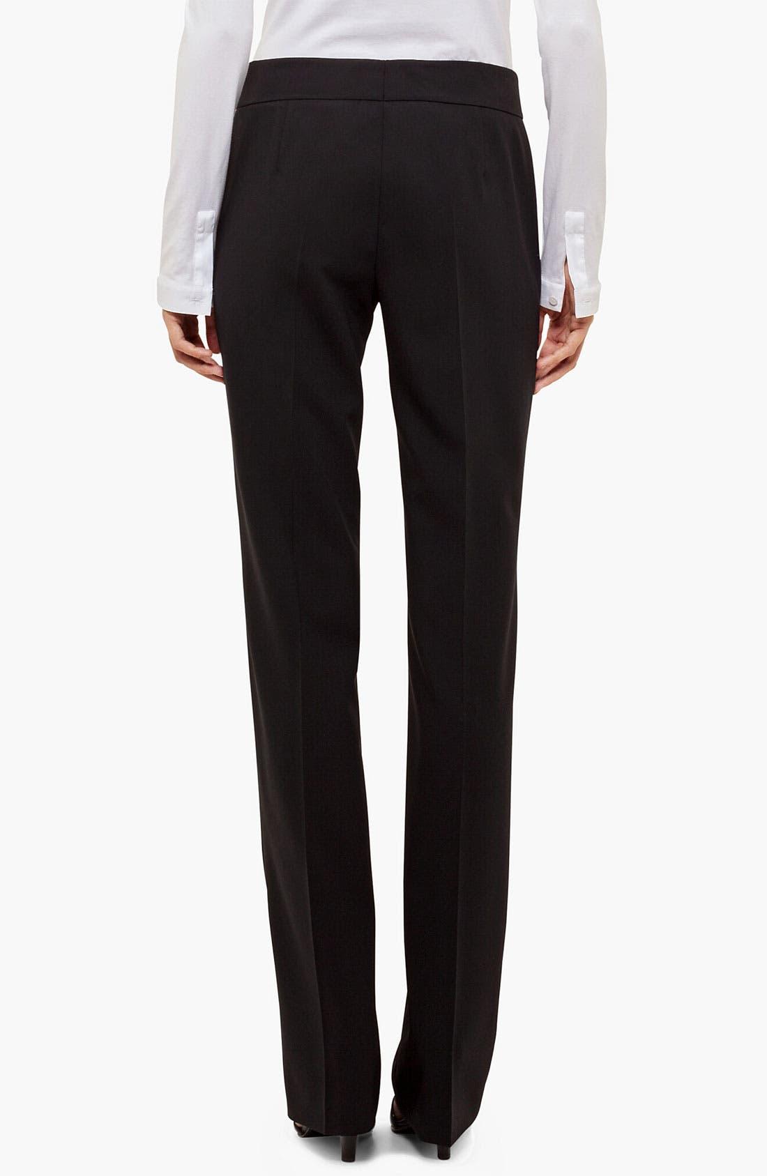 'Madison' Straight Leg Wool Trousers,                             Alternate thumbnail 10, color,                             001