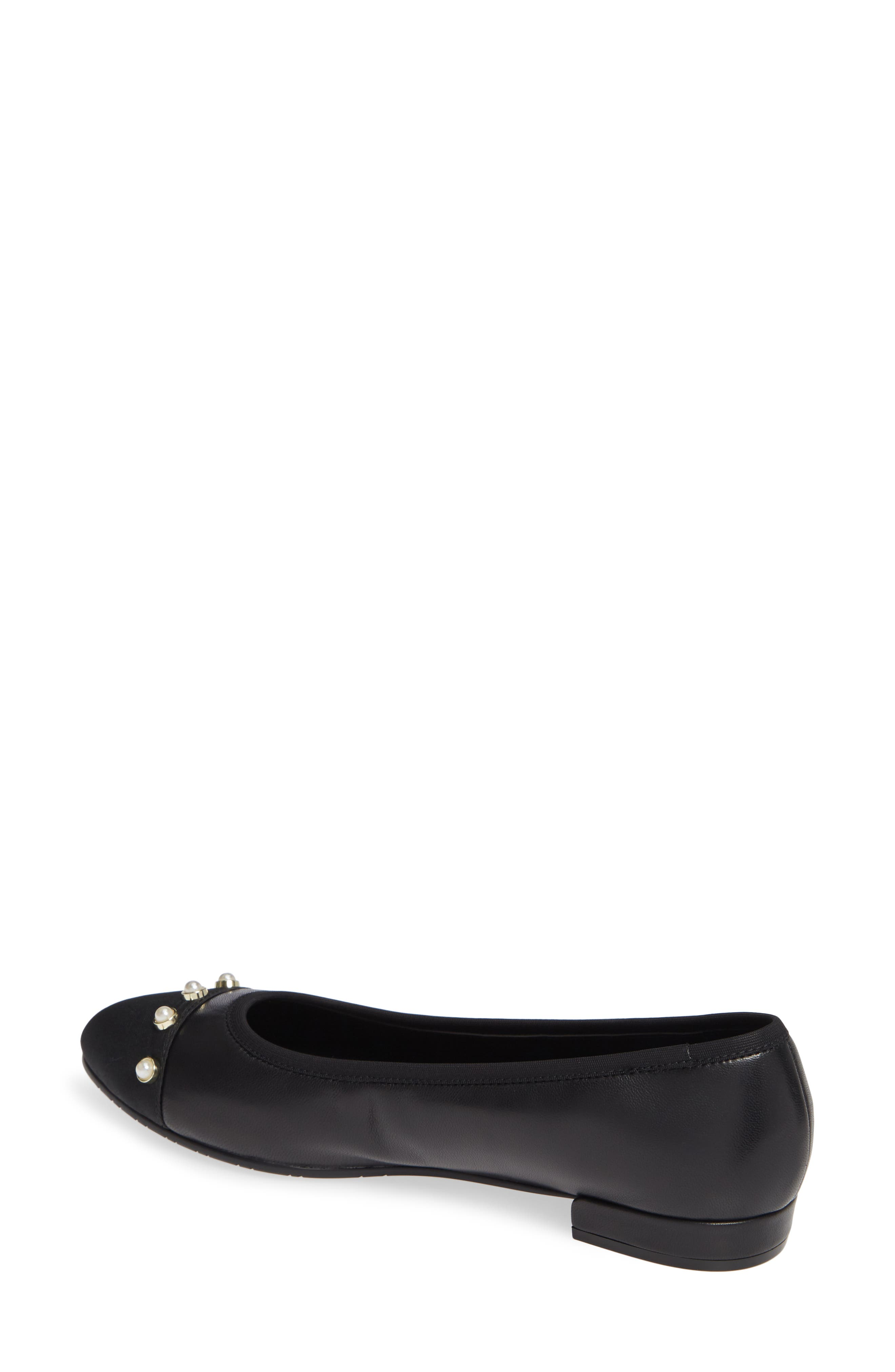 Umber Embellished Cap Toe Flat,                             Alternate thumbnail 2, color,                             BLACK NAPPA