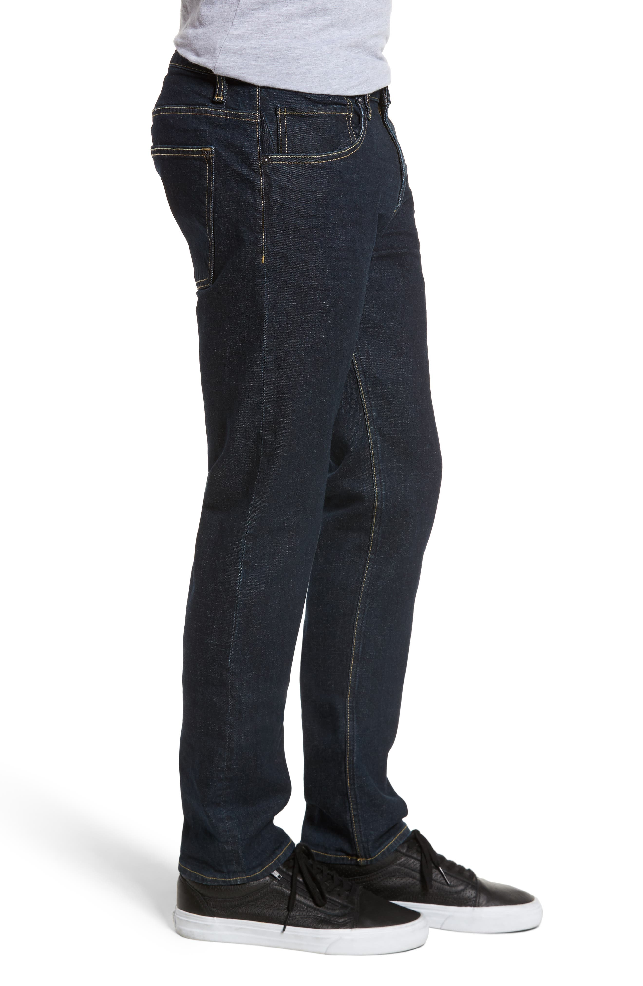 Slim Straight Leg Jeans,                             Alternate thumbnail 3, color,                             DARK RINSE