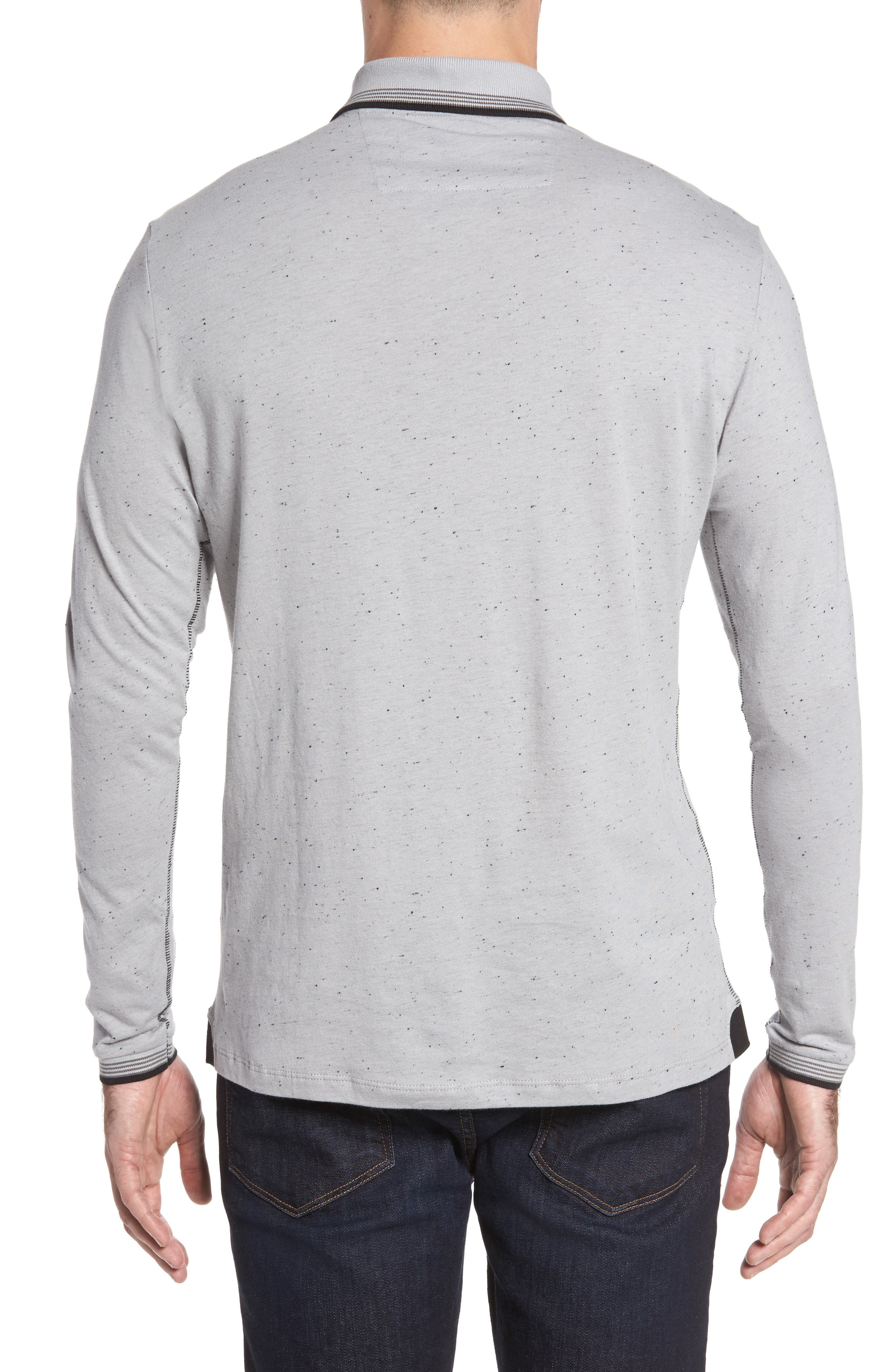 Speckle Knit Long Sleeve Polo,                             Alternate thumbnail 3, color,