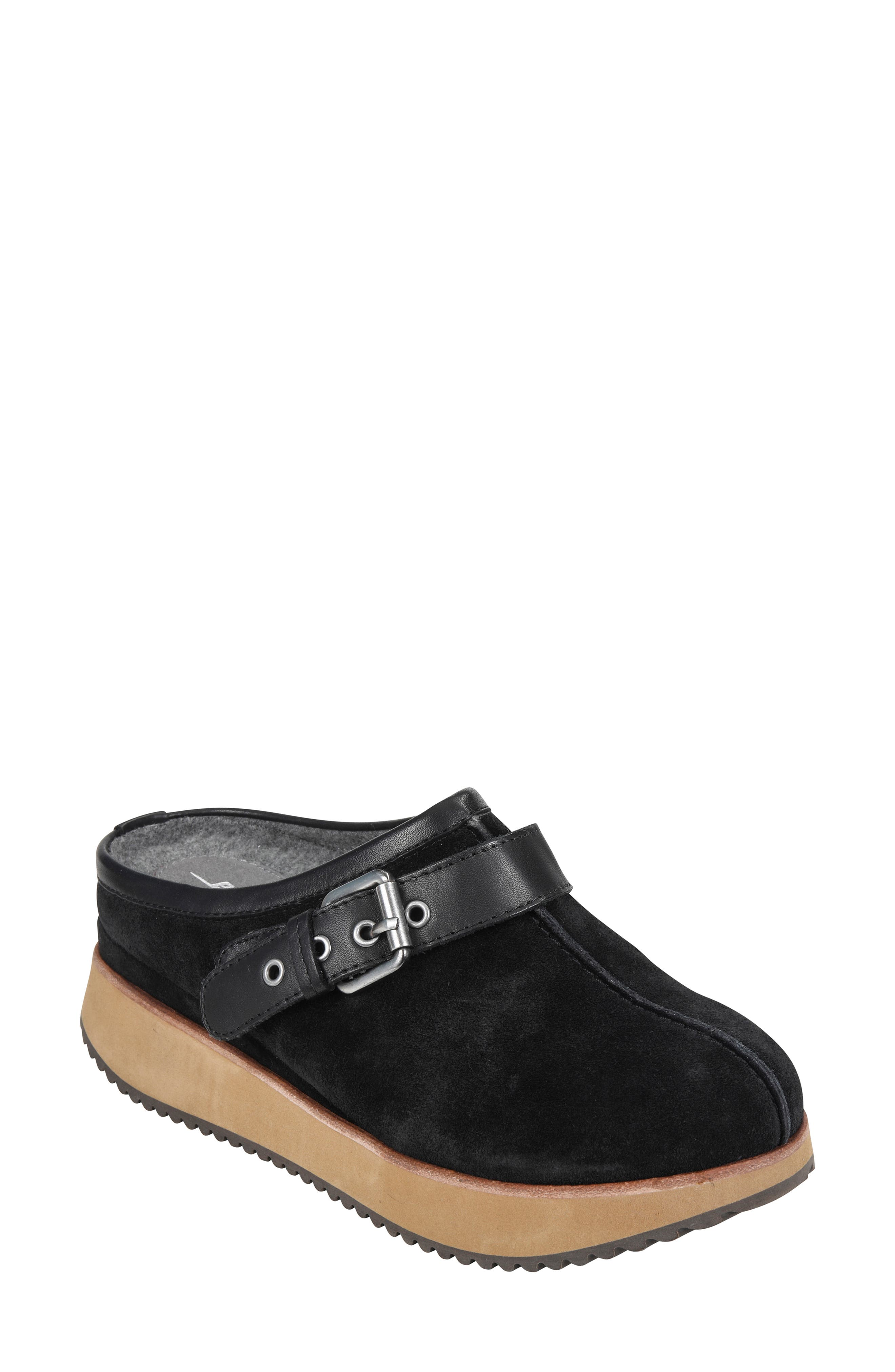Lyra Buckle Clog,                             Main thumbnail 1, color,                             BLACK SUEDE