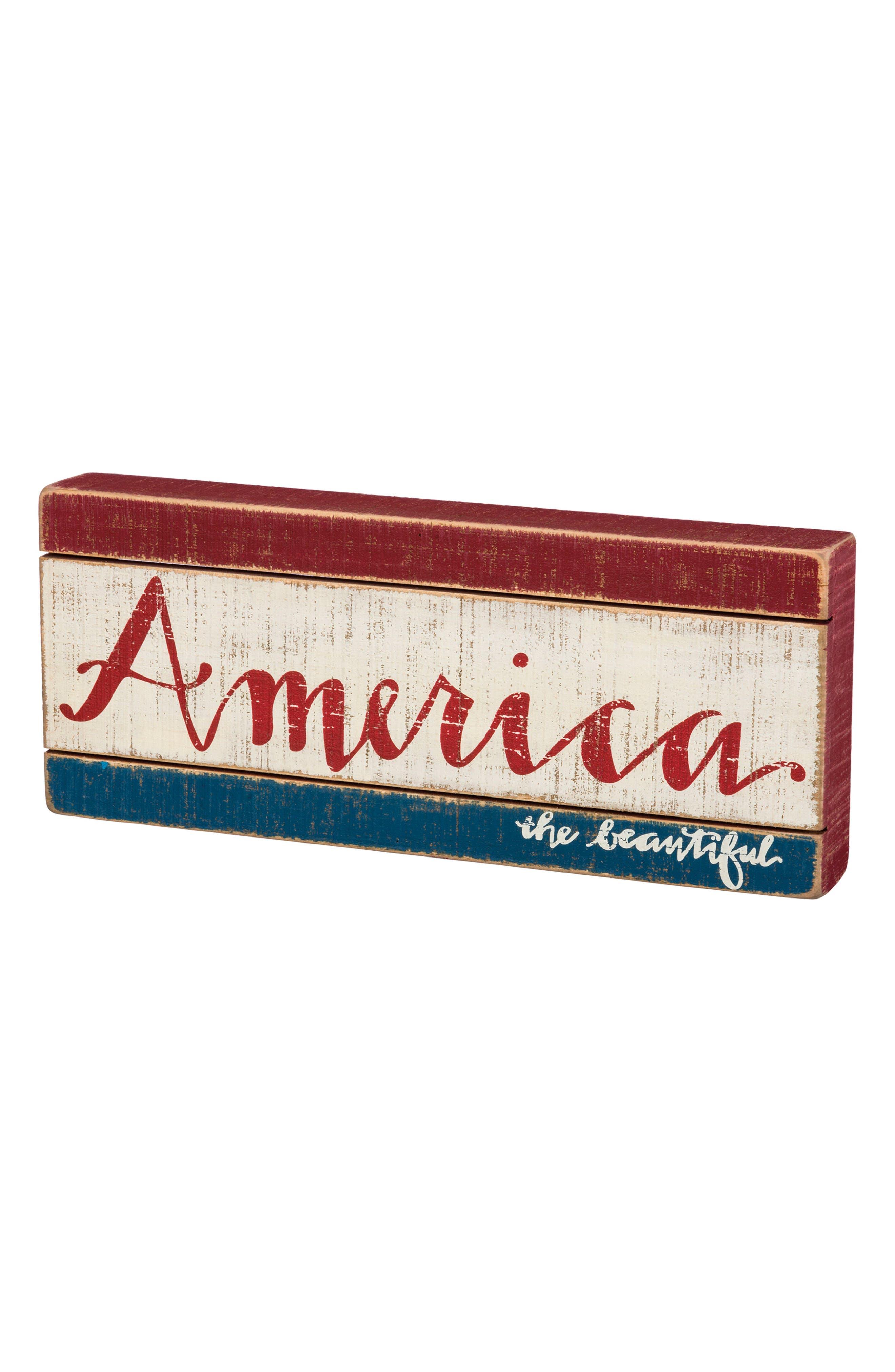 America The Beautiful Slat Box Sign,                         Main,                         color, 100