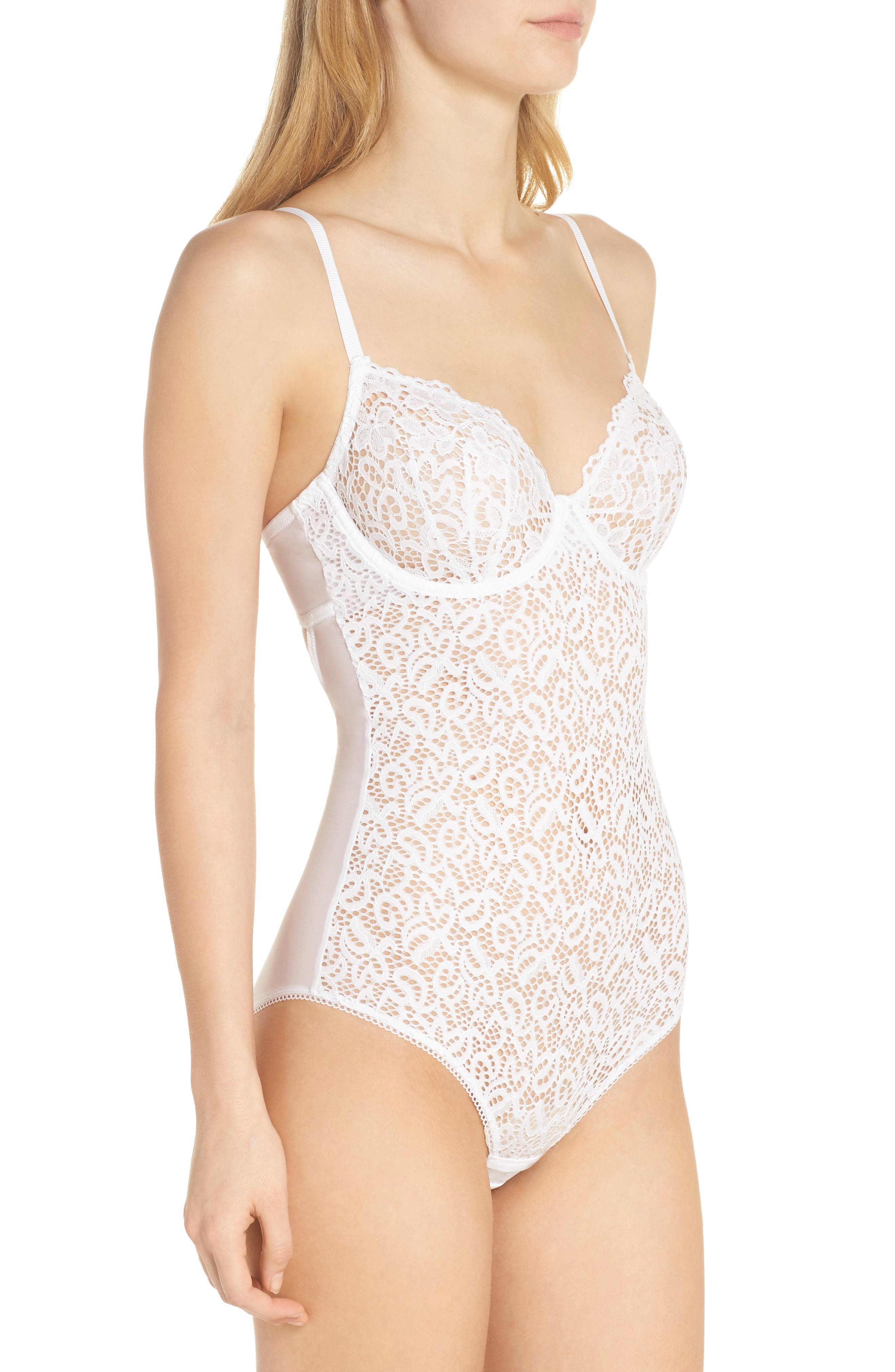 Classic Lace Underwire Bodysuit,                             Alternate thumbnail 3, color,                             100