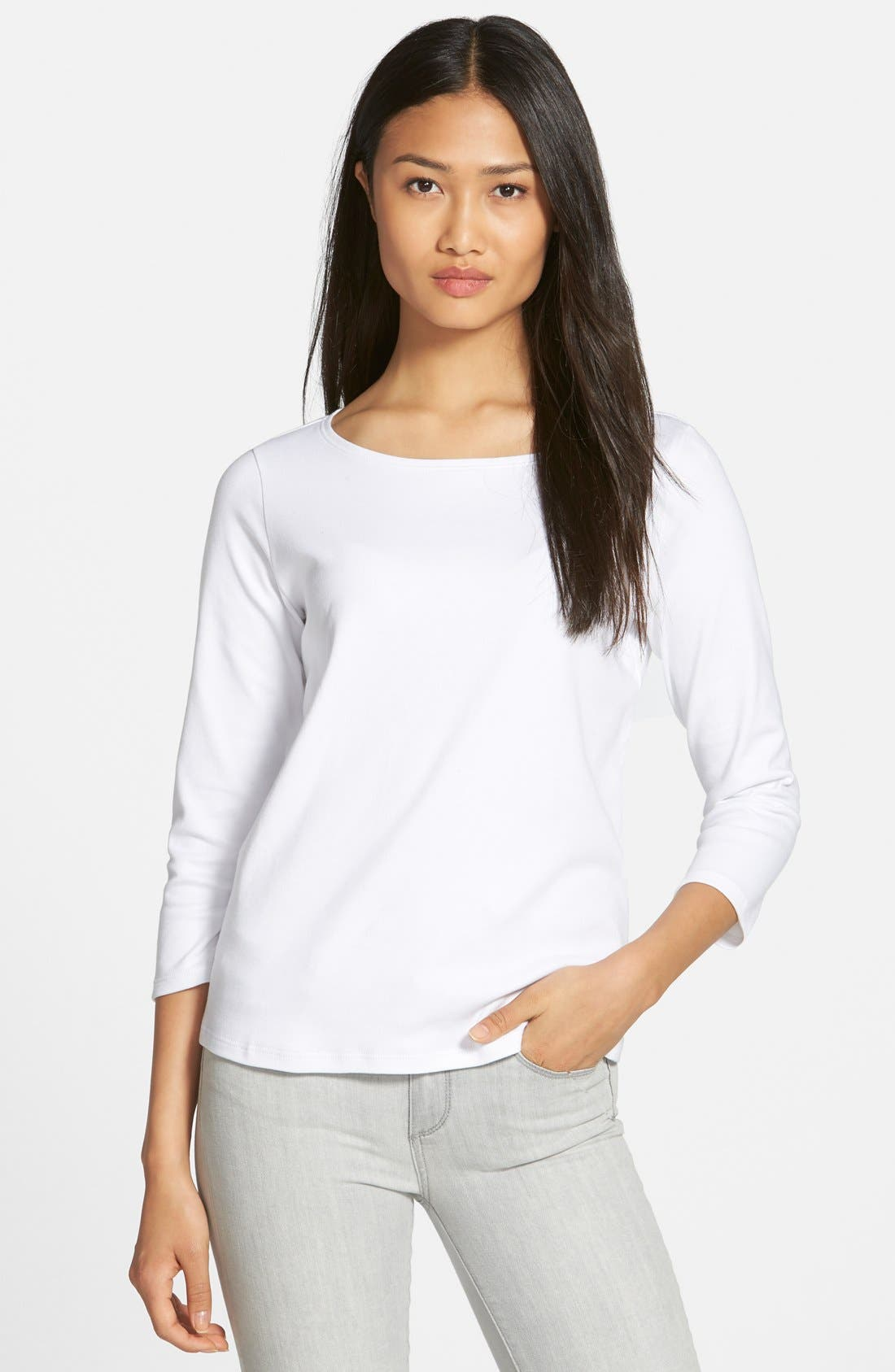 Ballet Neck Three Quarter Sleeve Top,                         Main,                         color, WHITE