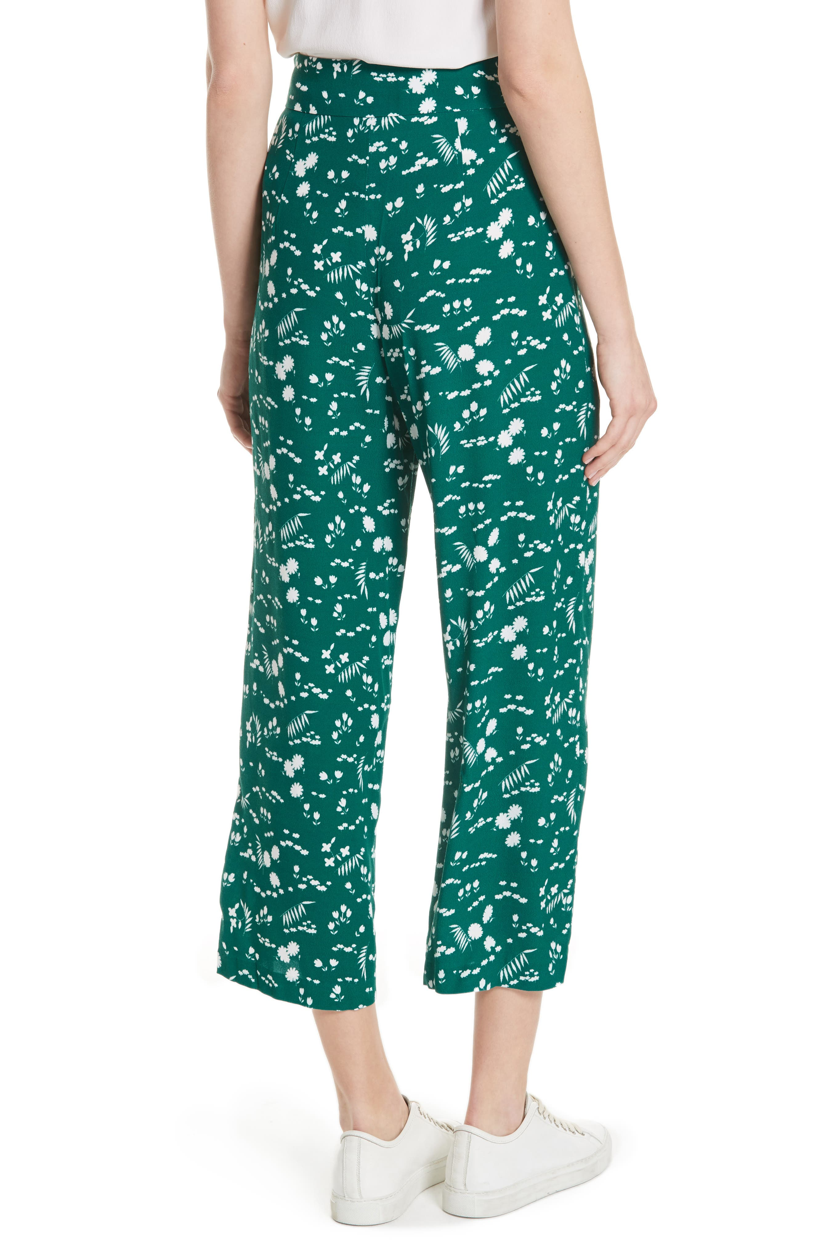 Floral Print Crop Pants,                             Alternate thumbnail 2, color,                             900