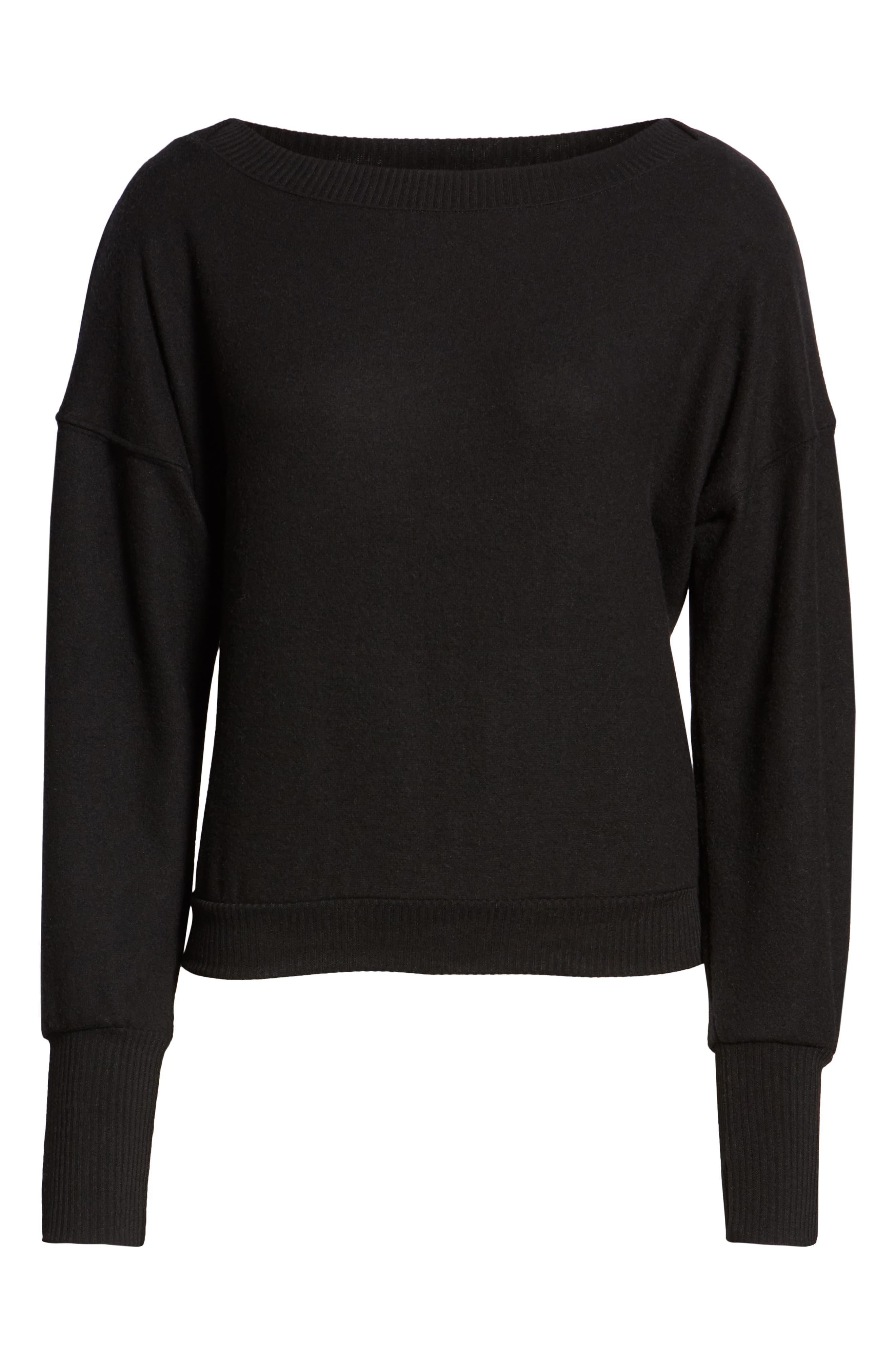 Darwin Cozy Sweatshirt,                             Alternate thumbnail 6, color,                             BLACK