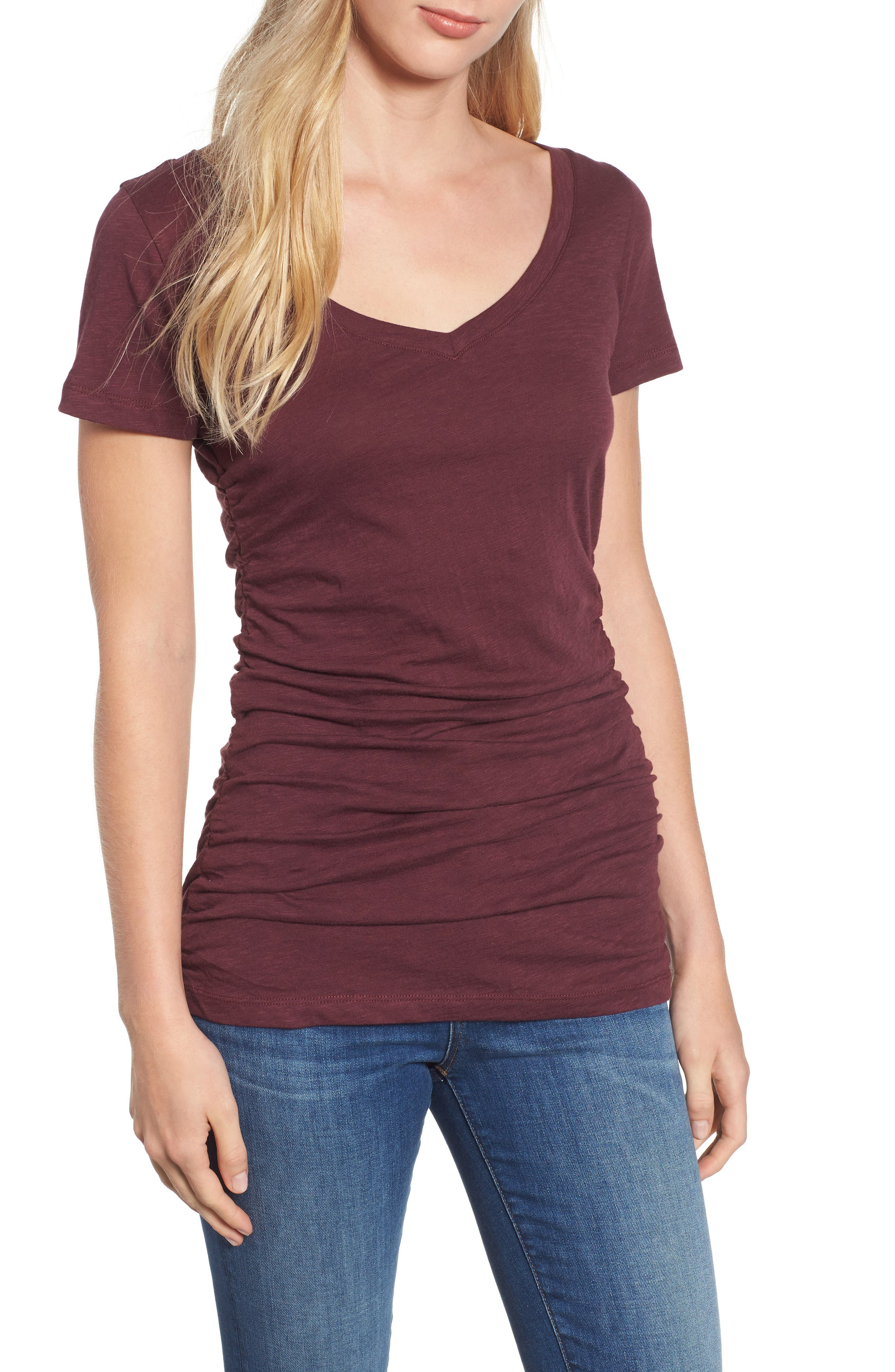 Shirred V-Neck Tee, Main, color, 931