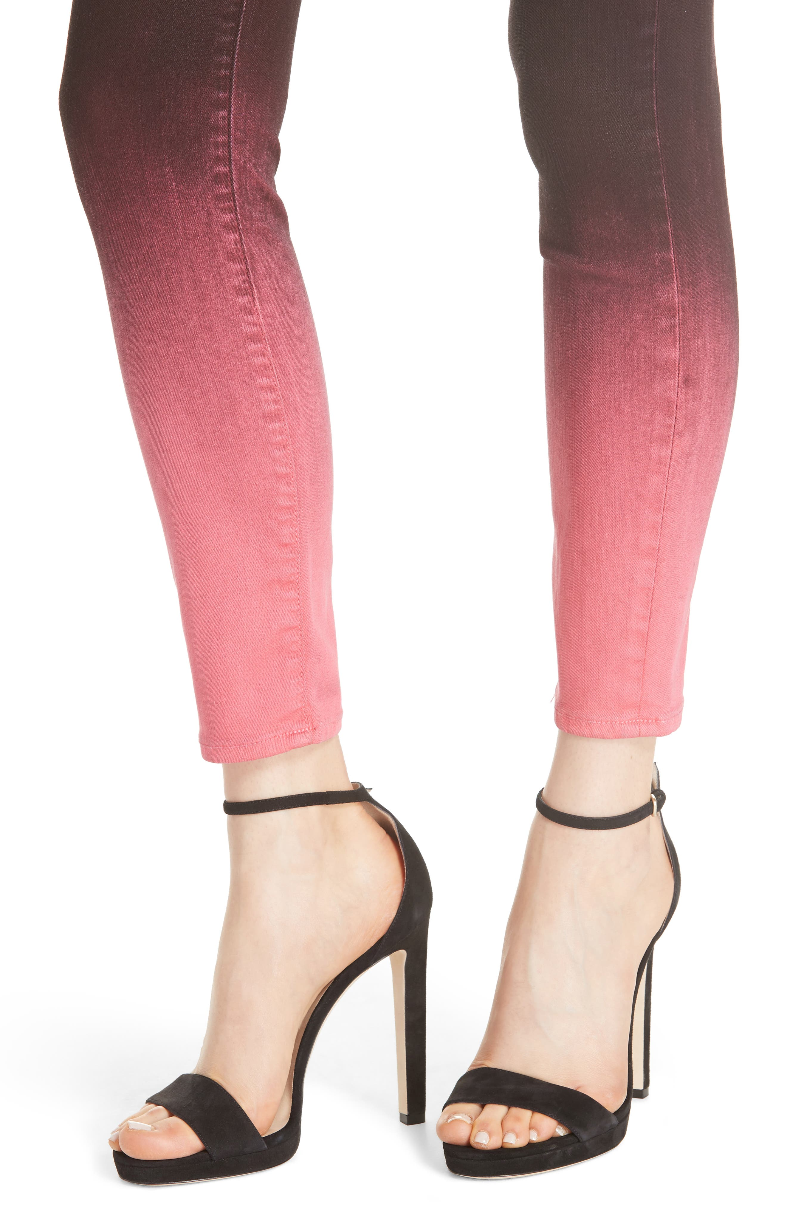 AO.LA Good High Waist Ankle Skinny Jeans,                             Alternate thumbnail 4, color,                             WINE/ BUBBLEGUM