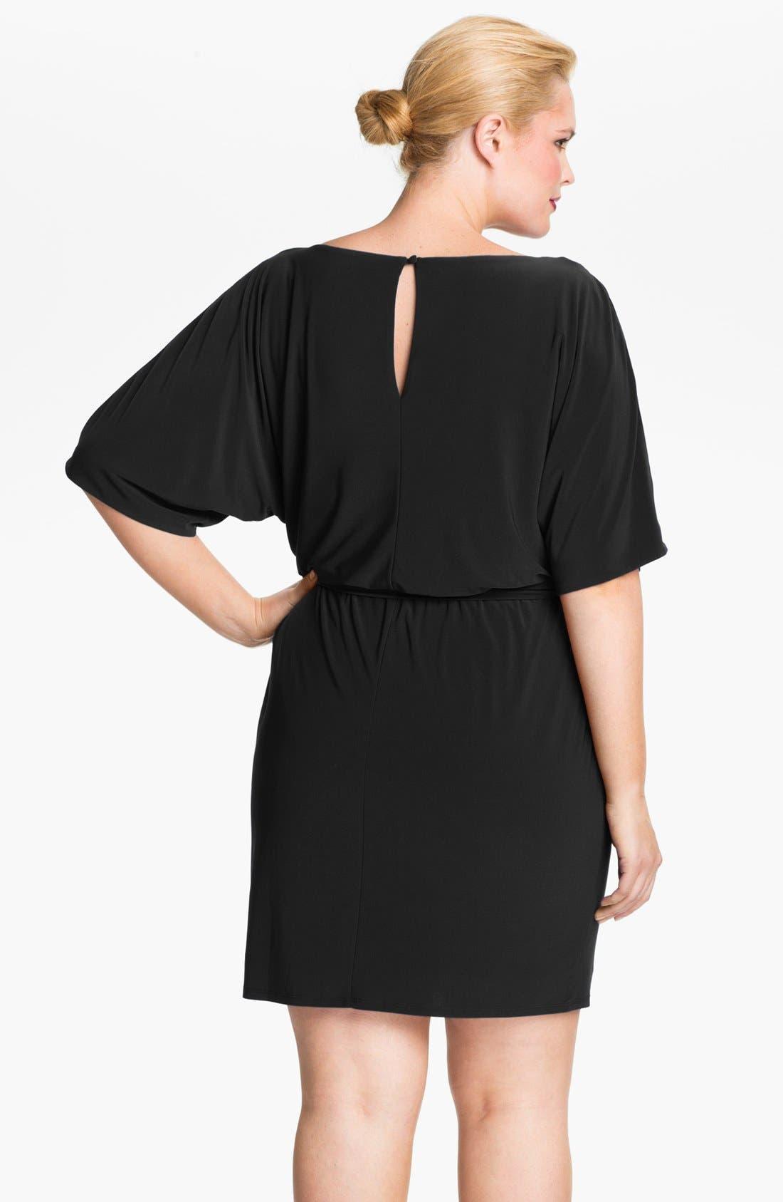 Cold Shoulder Matte Jersey Blouson Dress,                             Alternate thumbnail 3, color,                             001