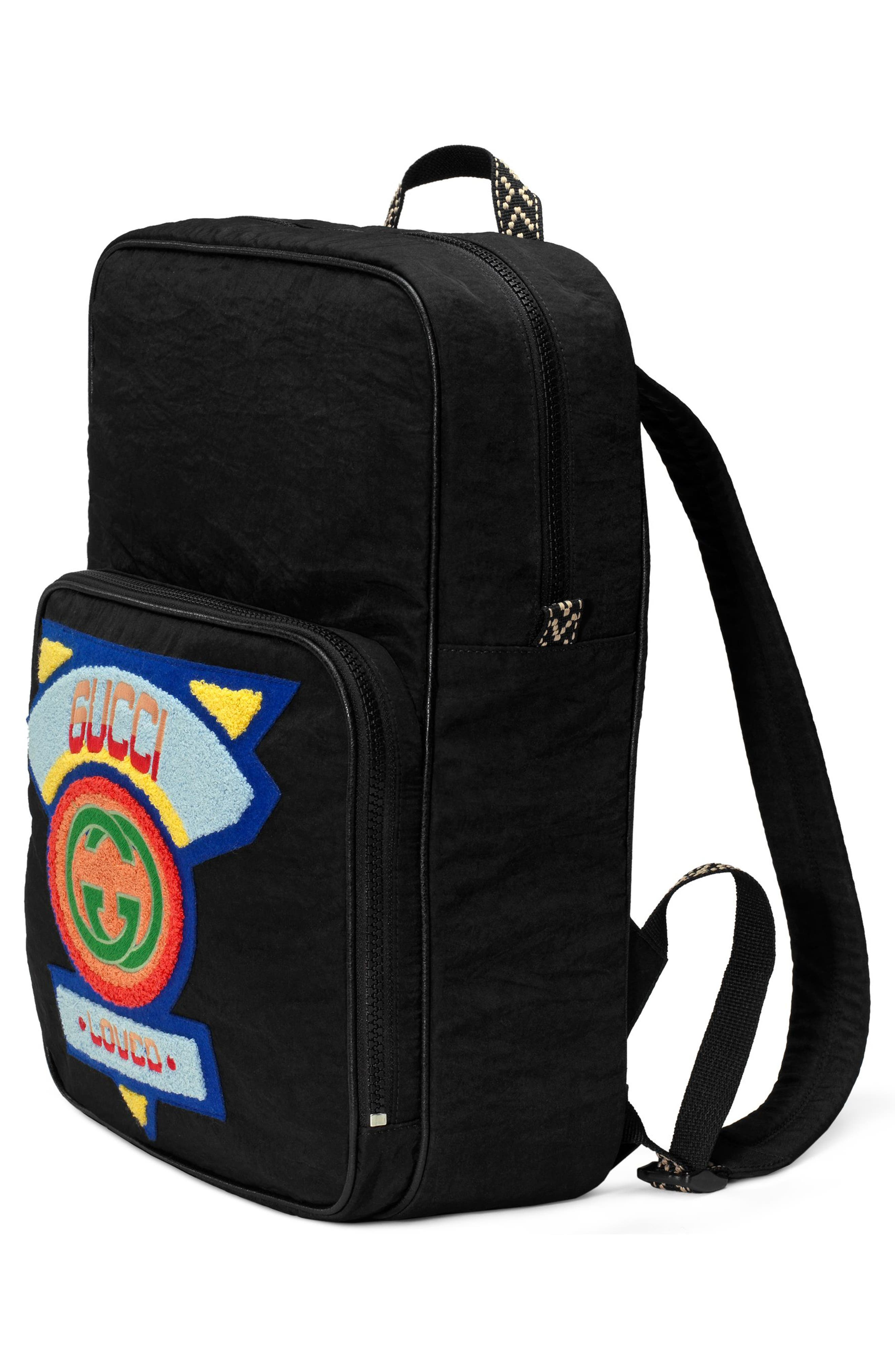 Patch Backpack,                             Alternate thumbnail 4, color,                             BLACK