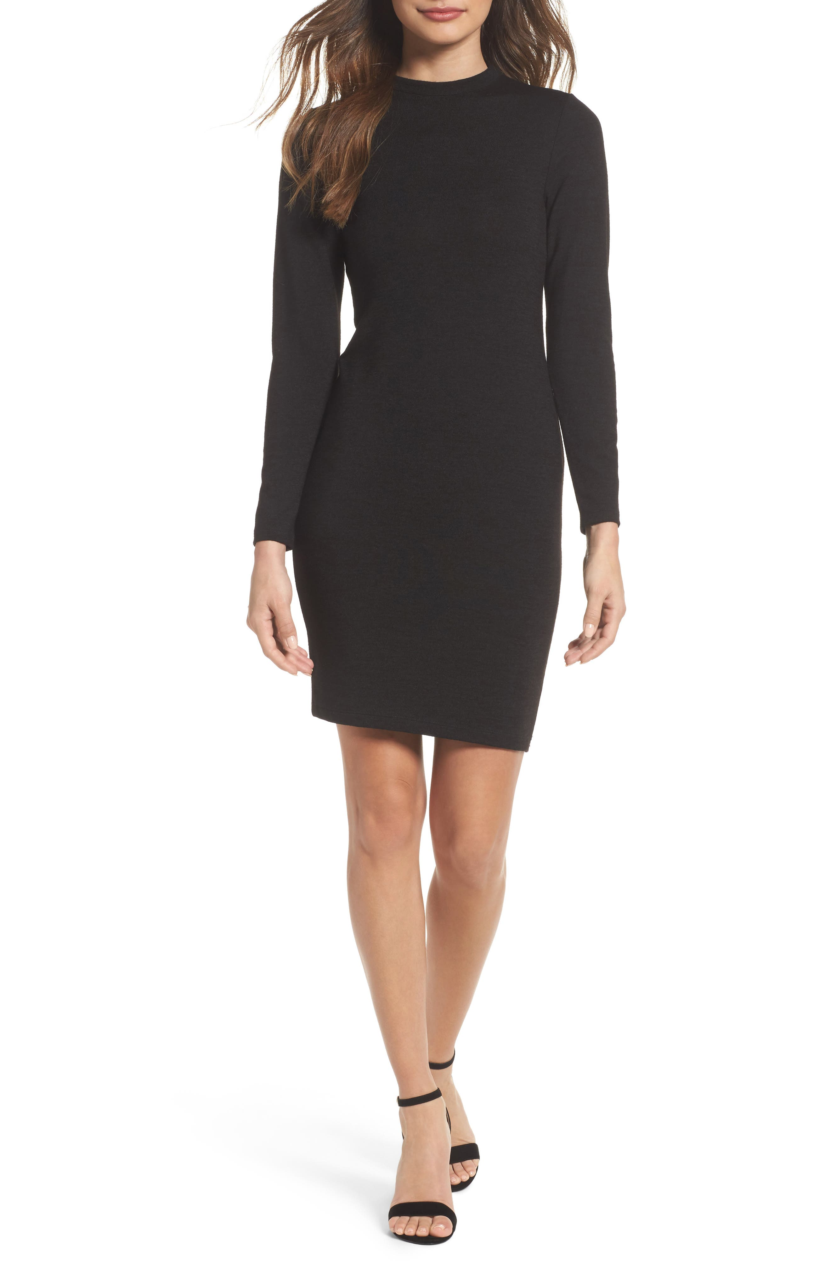 French Connection Body-Con Sweater Dress, Black