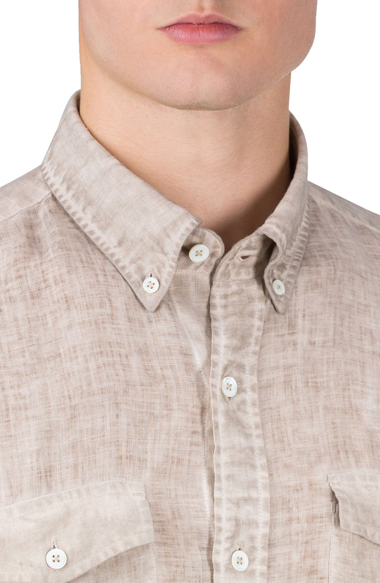 Shaped Fit Linen Sport Shirt,                             Alternate thumbnail 3, color,                             271