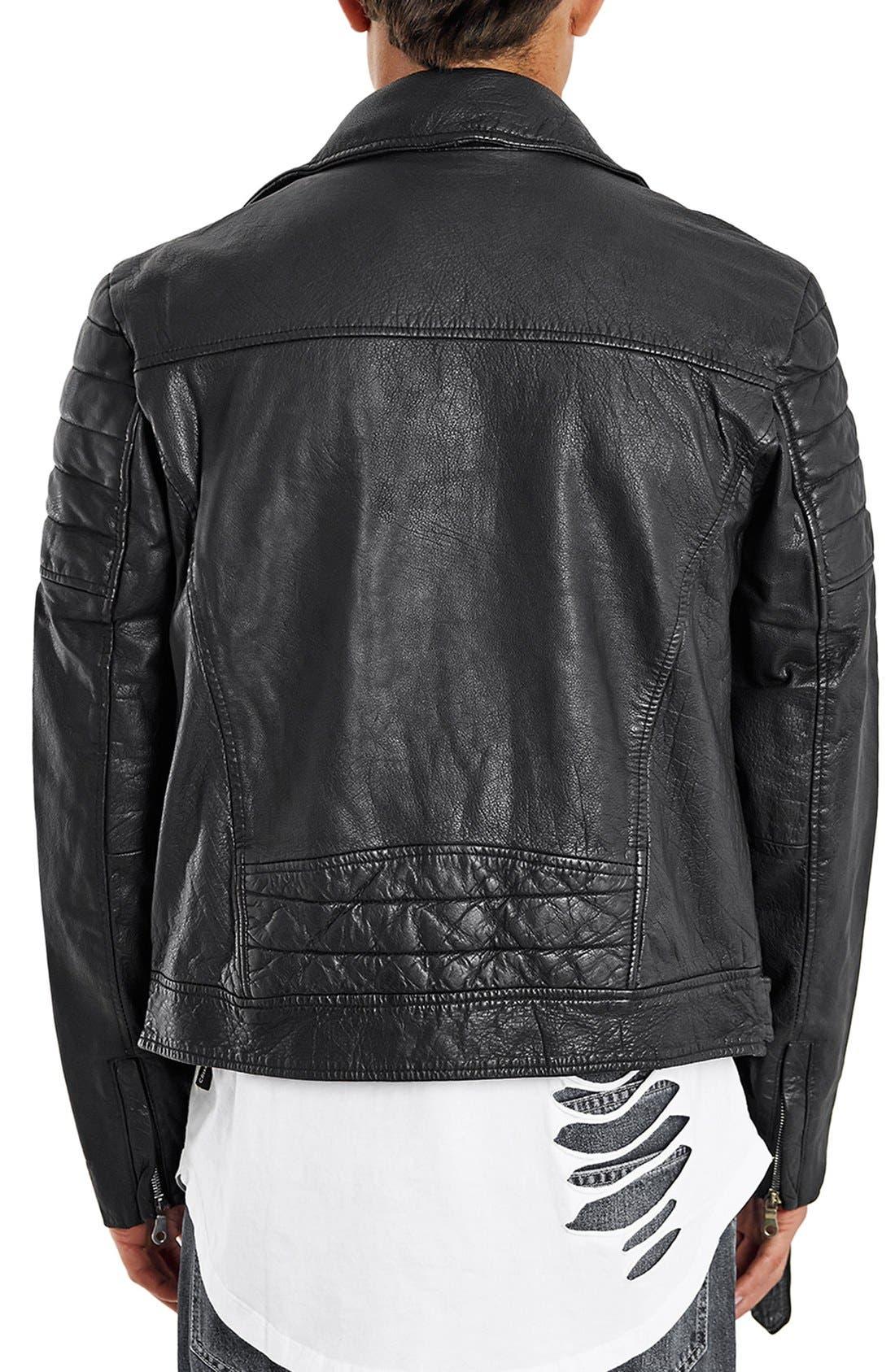 Washed Leather Moto Jacket with Waist Belt,                             Alternate thumbnail 4, color,                             001