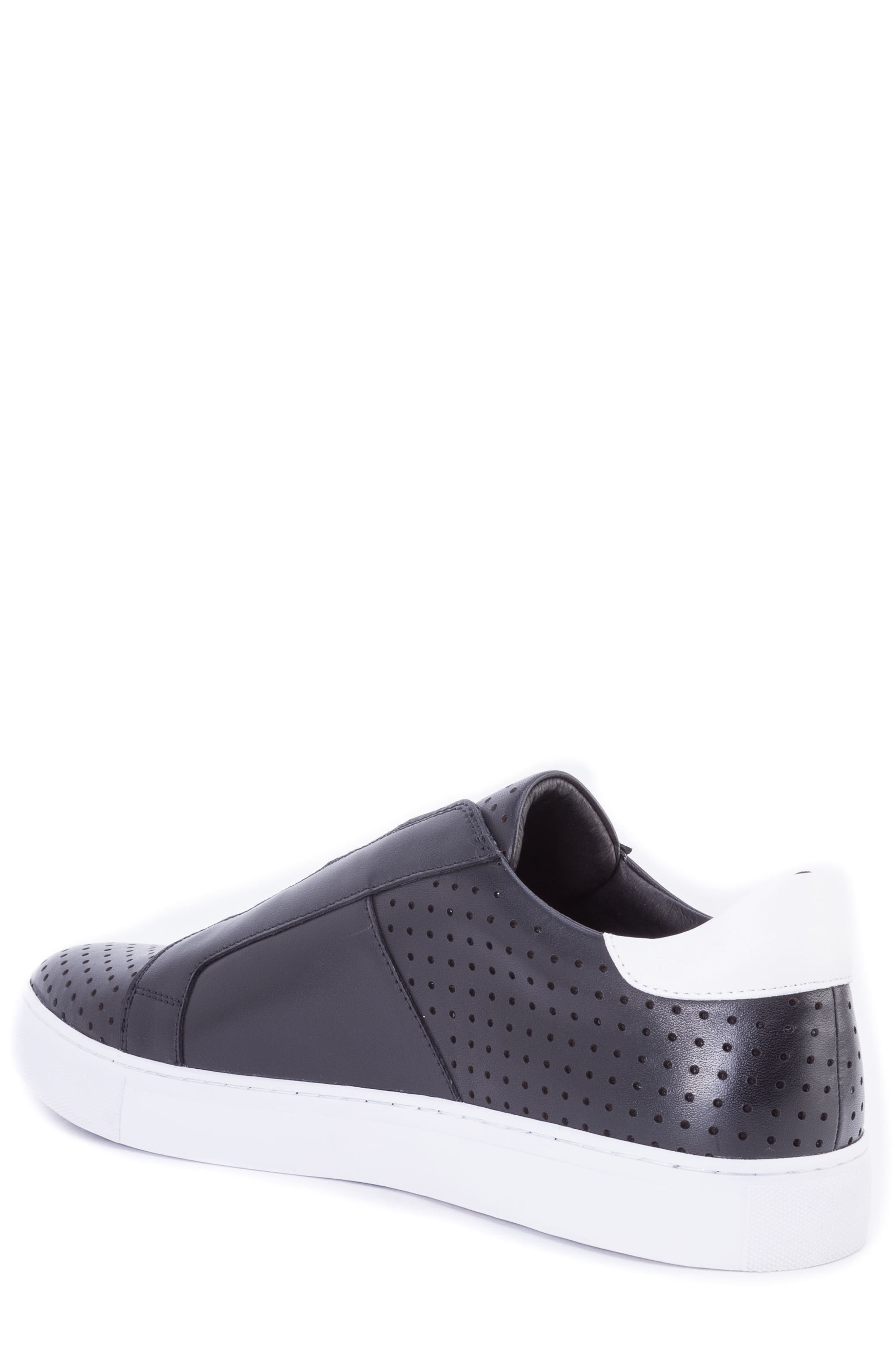 Rowley Perforated Laceless Sneaker,                             Alternate thumbnail 2, color,                             BLACK LEATHER