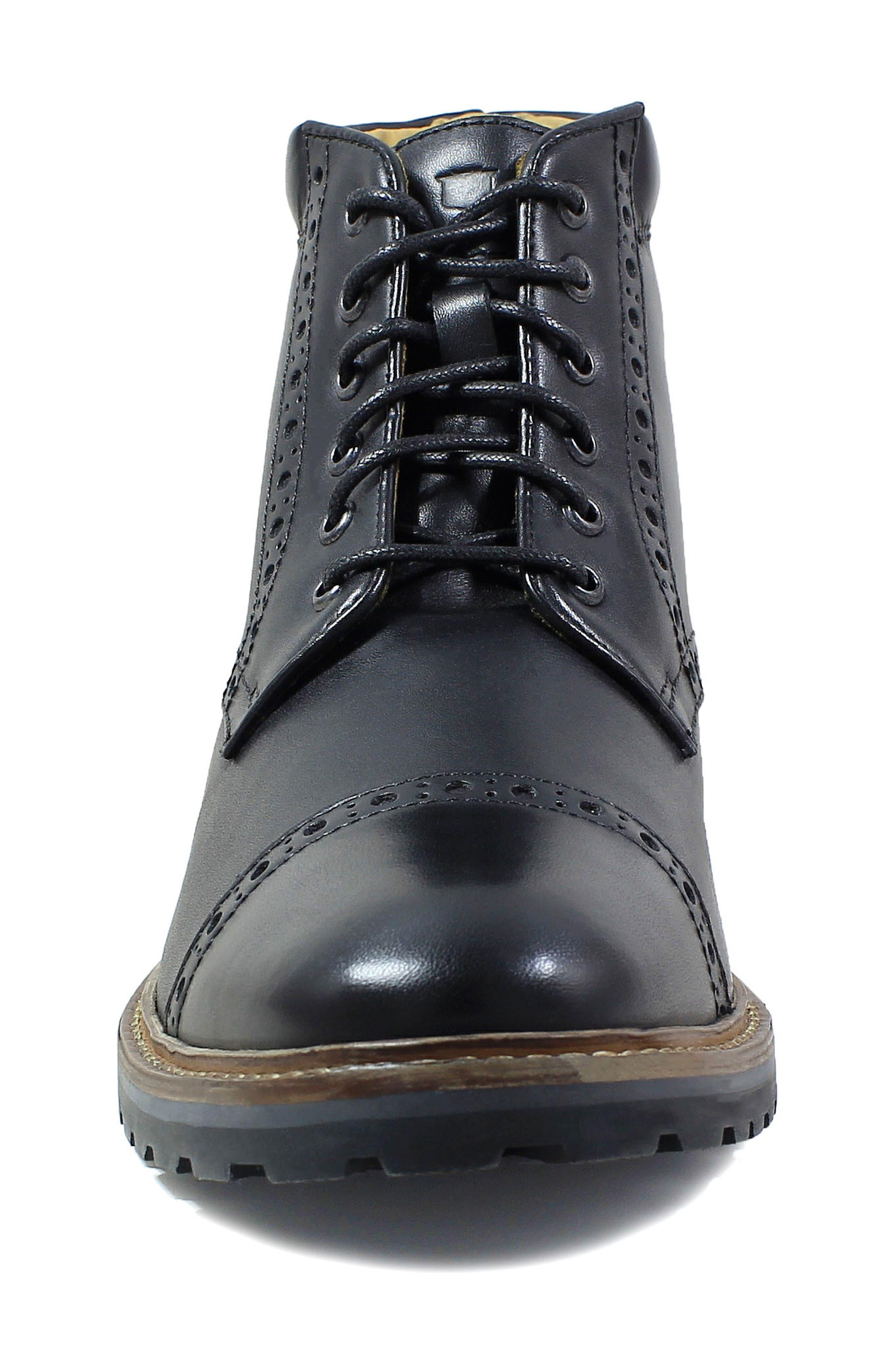 FLORSHEIM,                             Estabrook Cap Toe Boot,                             Alternate thumbnail 4, color,                             BLACK LEATHER