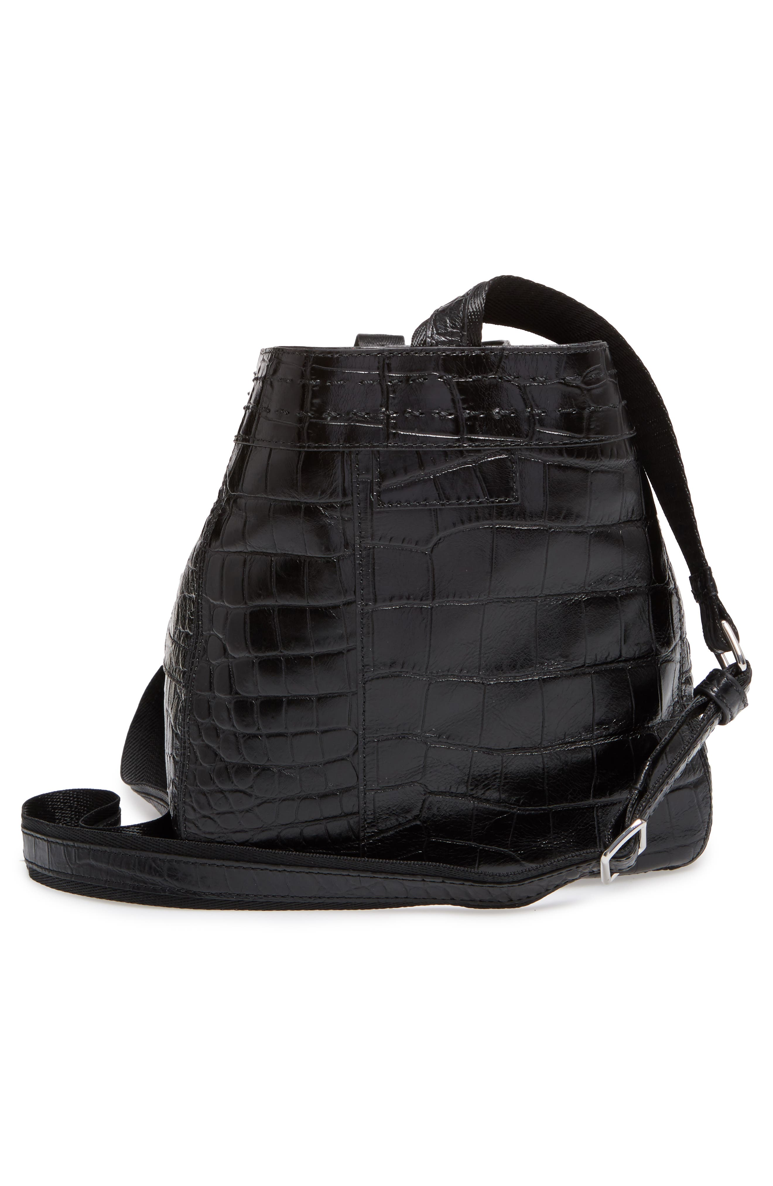 Mini Keely Newspaper Croc Embossed Leather Shoulder/Crossbody Bag,                             Alternate thumbnail 5, color,                             001