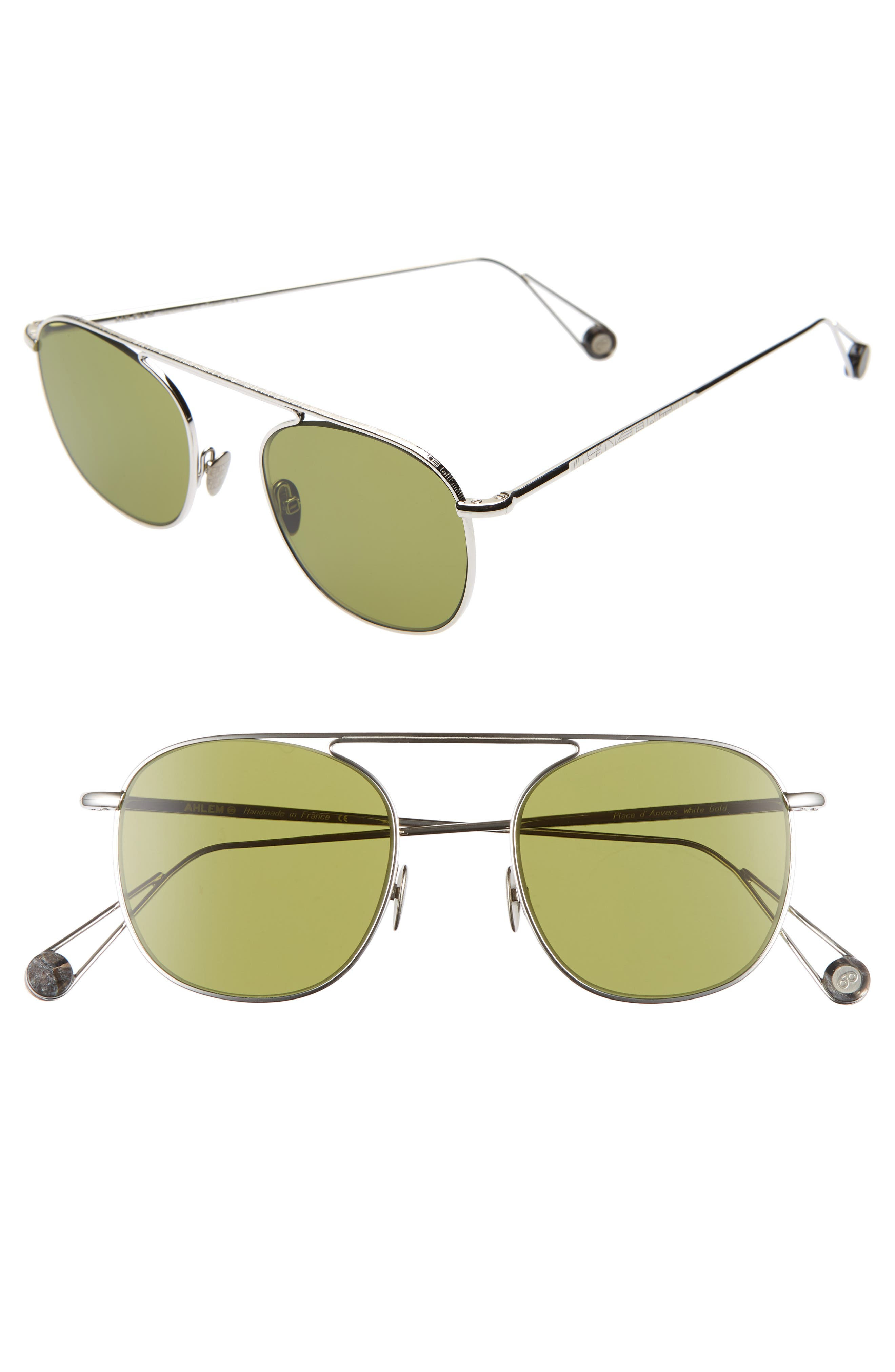 AHLEM D'Anvers 49Mm Aviator Sunglasses in White Gold