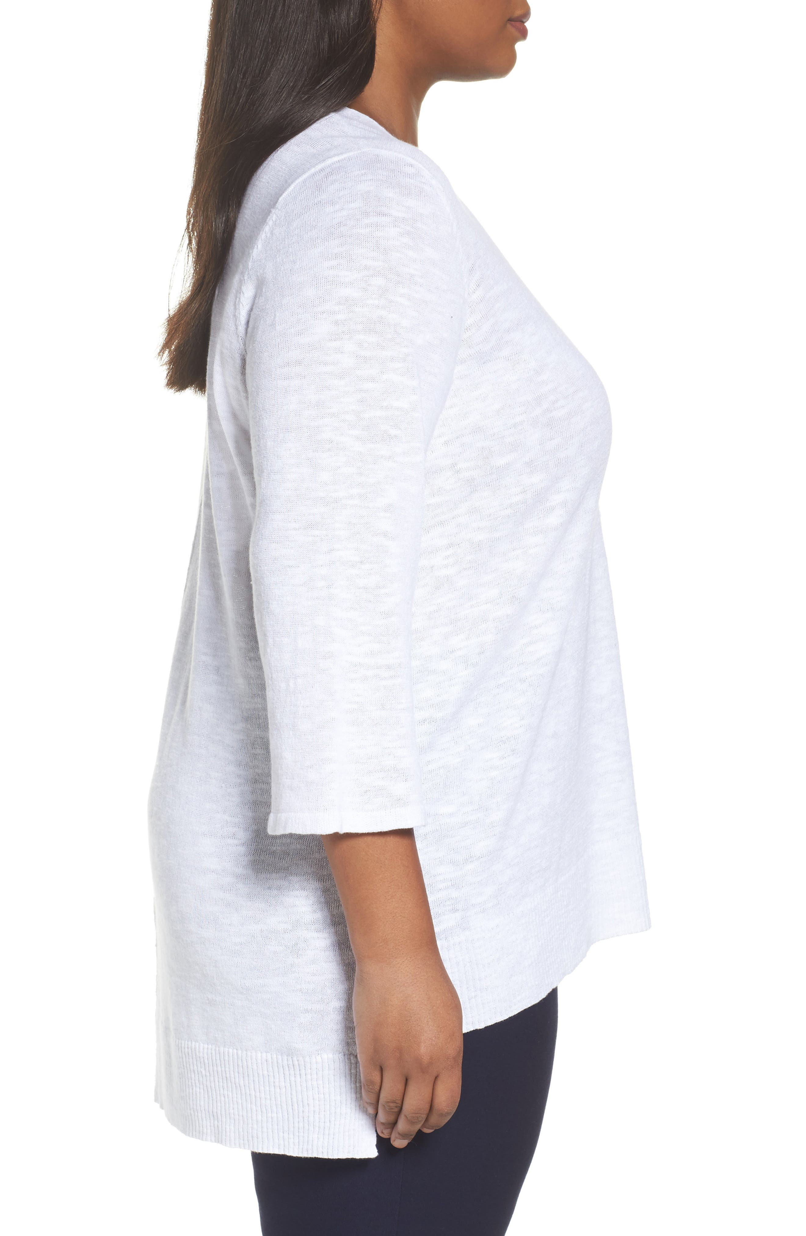 Organic Linen & Cotton High/Low Sweater,                             Alternate thumbnail 3, color,                             100
