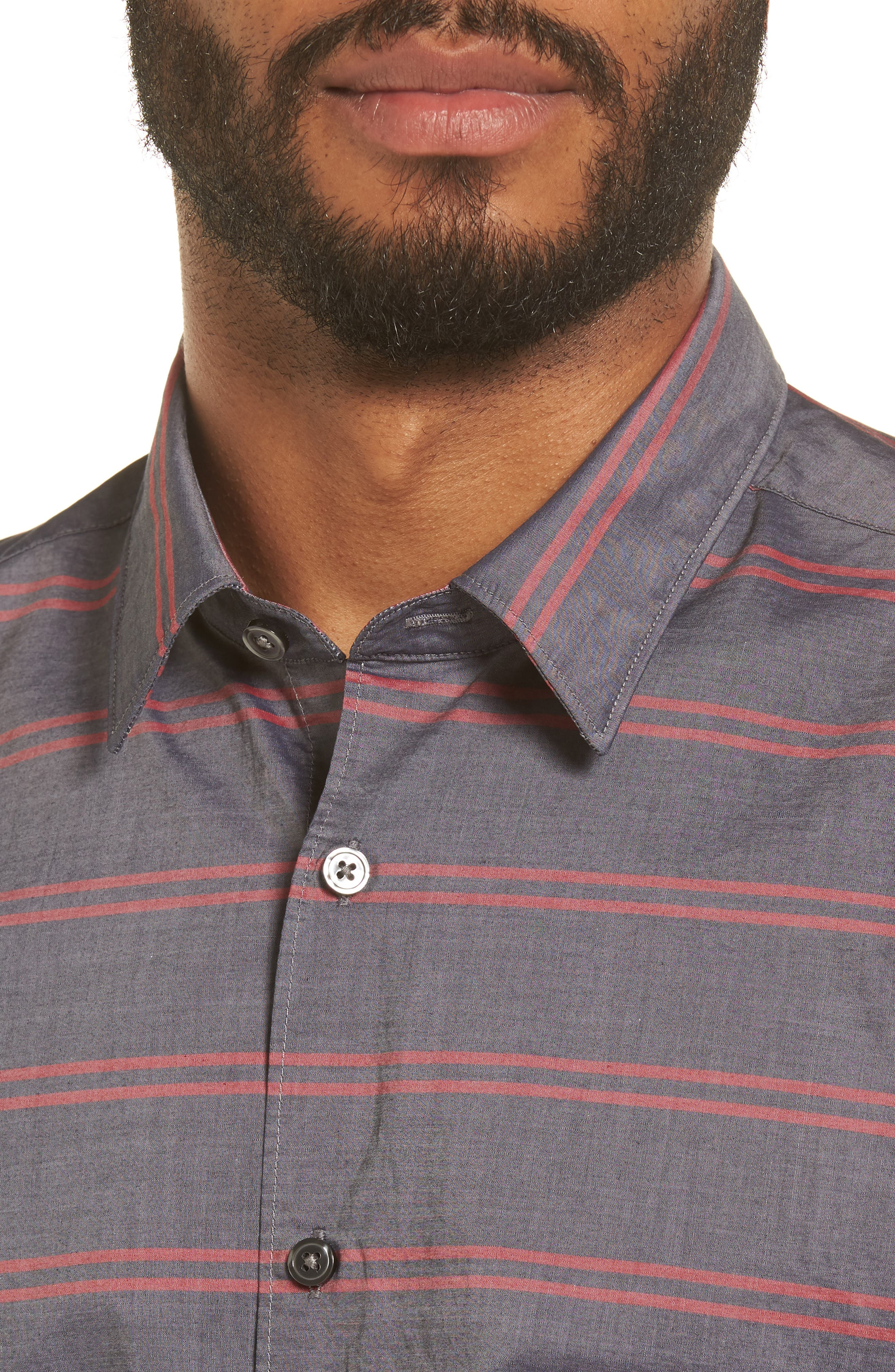 Reid Slim Fit Stripe Sport Shirt,                             Alternate thumbnail 4, color,