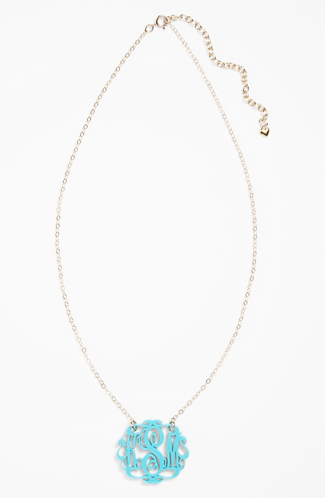 Small Oval Personalized Monogram Pendant Necklace,                         Main,                         color, ROBINS EGG/ GOLD