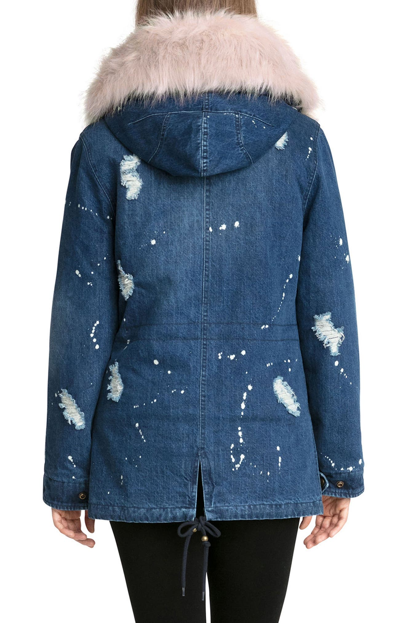 3-in-1 Distressed Denim Parka with Faux Shearling Trim,                             Alternate thumbnail 2, color,