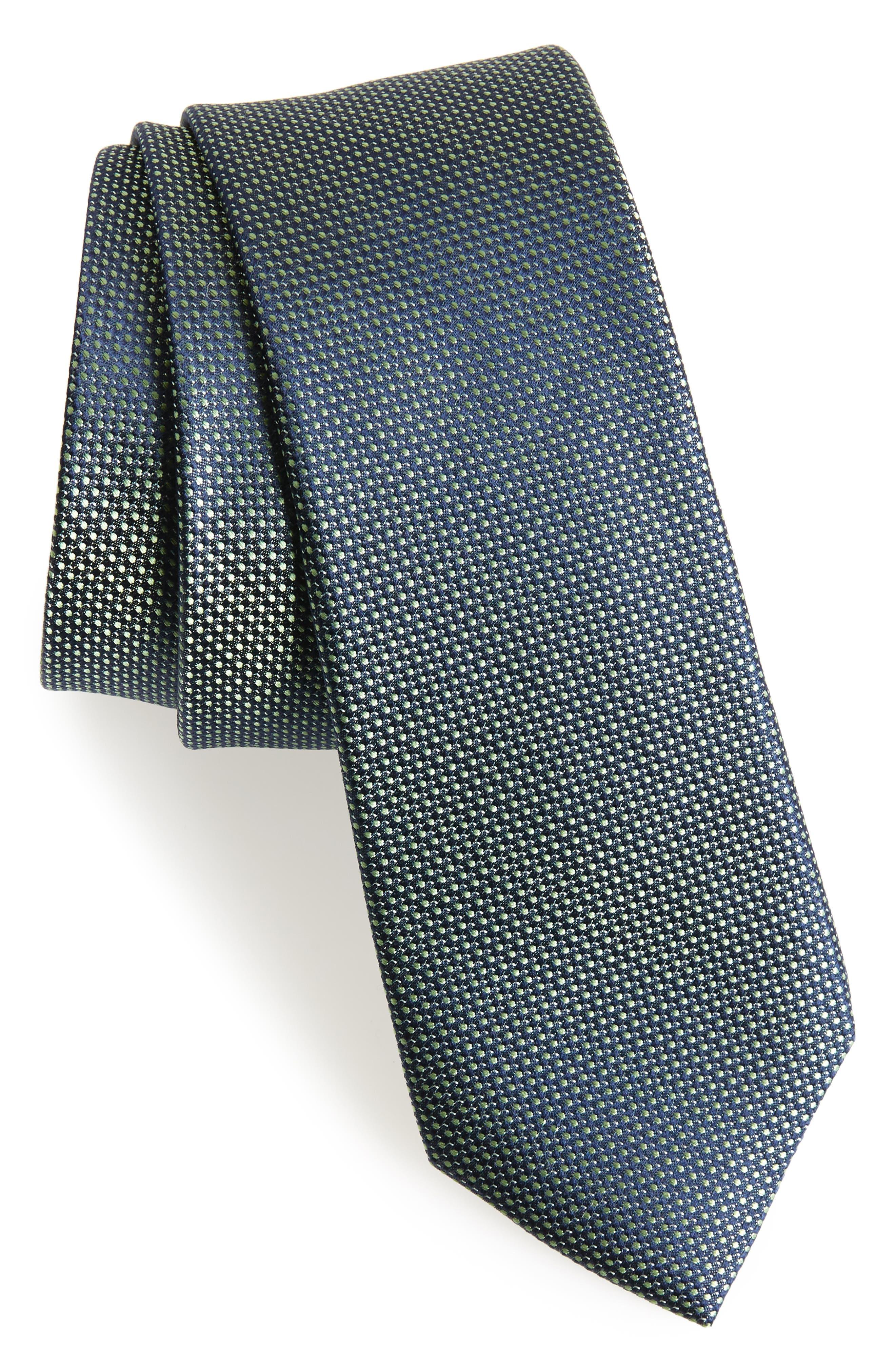 Pop Dot Silk Skinny Tie,                             Main thumbnail 1, color,                             322