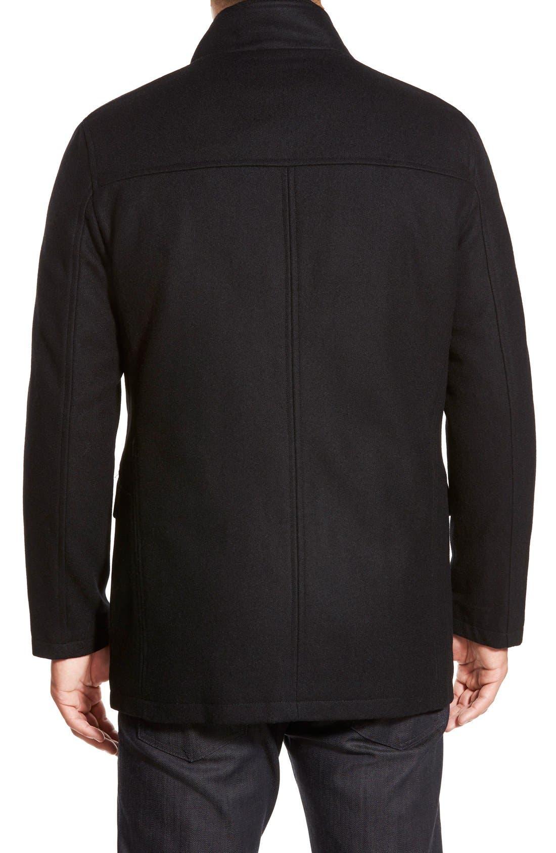 Wool Blend Jacket,                             Alternate thumbnail 4, color,                             BLACK
