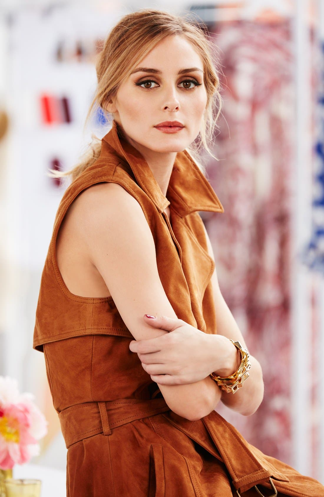 OLIVIA PALERMO + CHELSEA28,                             Sleeveless Suede Trench Dress,                             Alternate thumbnail 6, color,                             235
