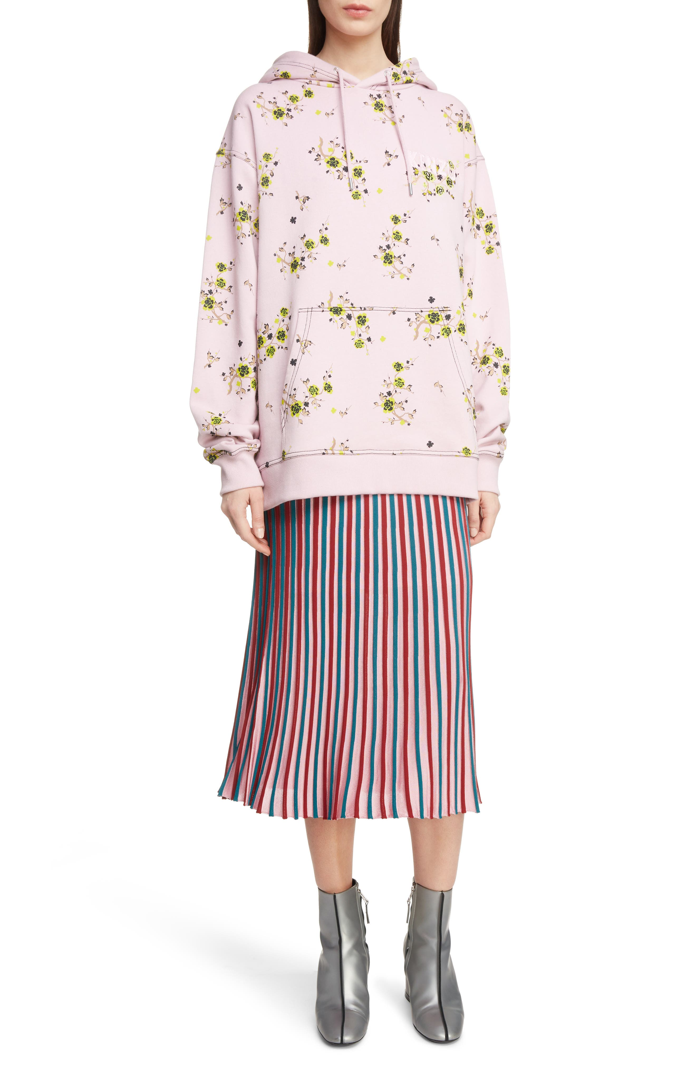 Oversize Floral Hoodie,                             Alternate thumbnail 6, color,                             683