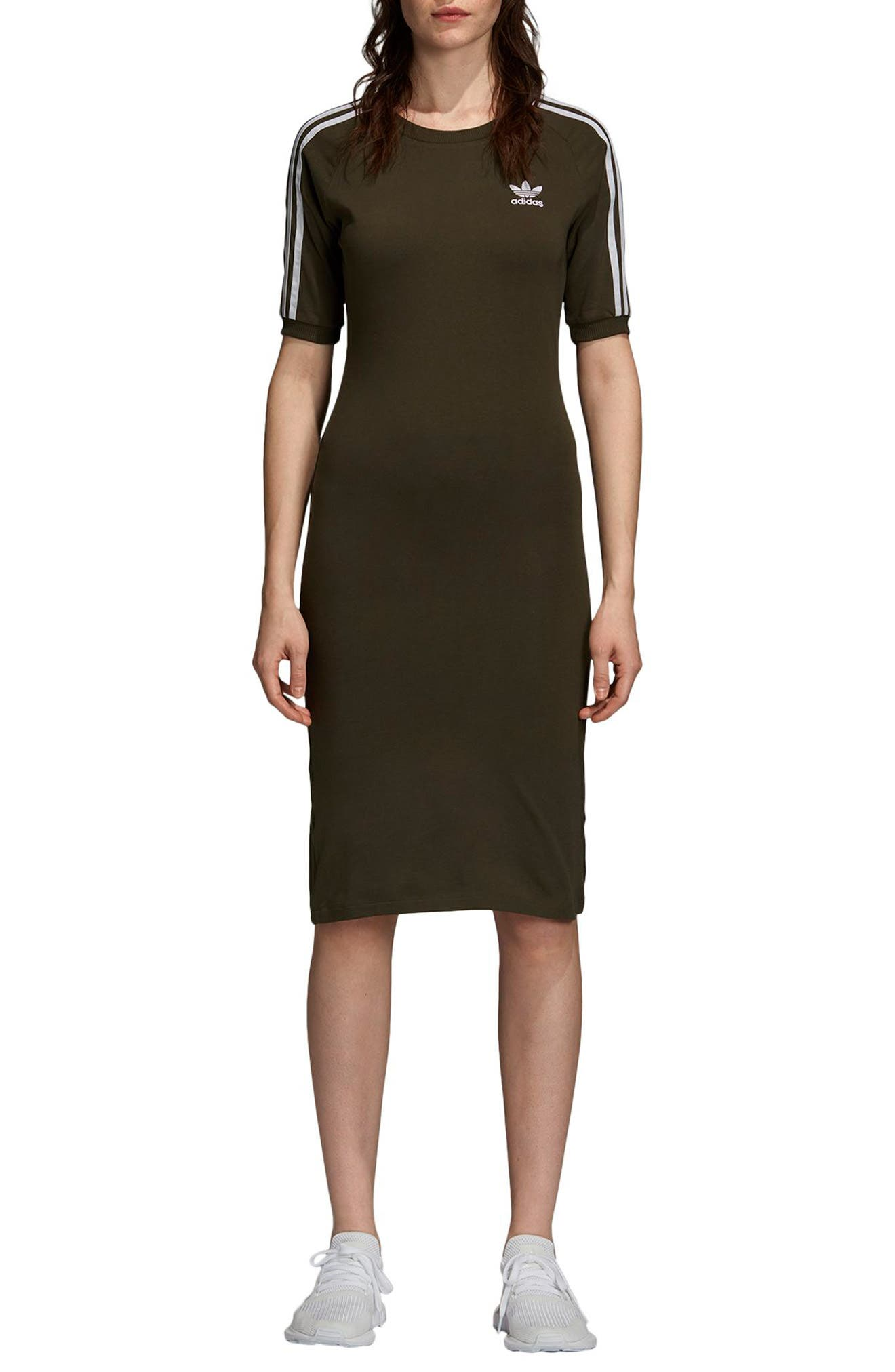 adidas 3-Stripes Dress,                             Main thumbnail 1, color,                             NIGHT CARGO