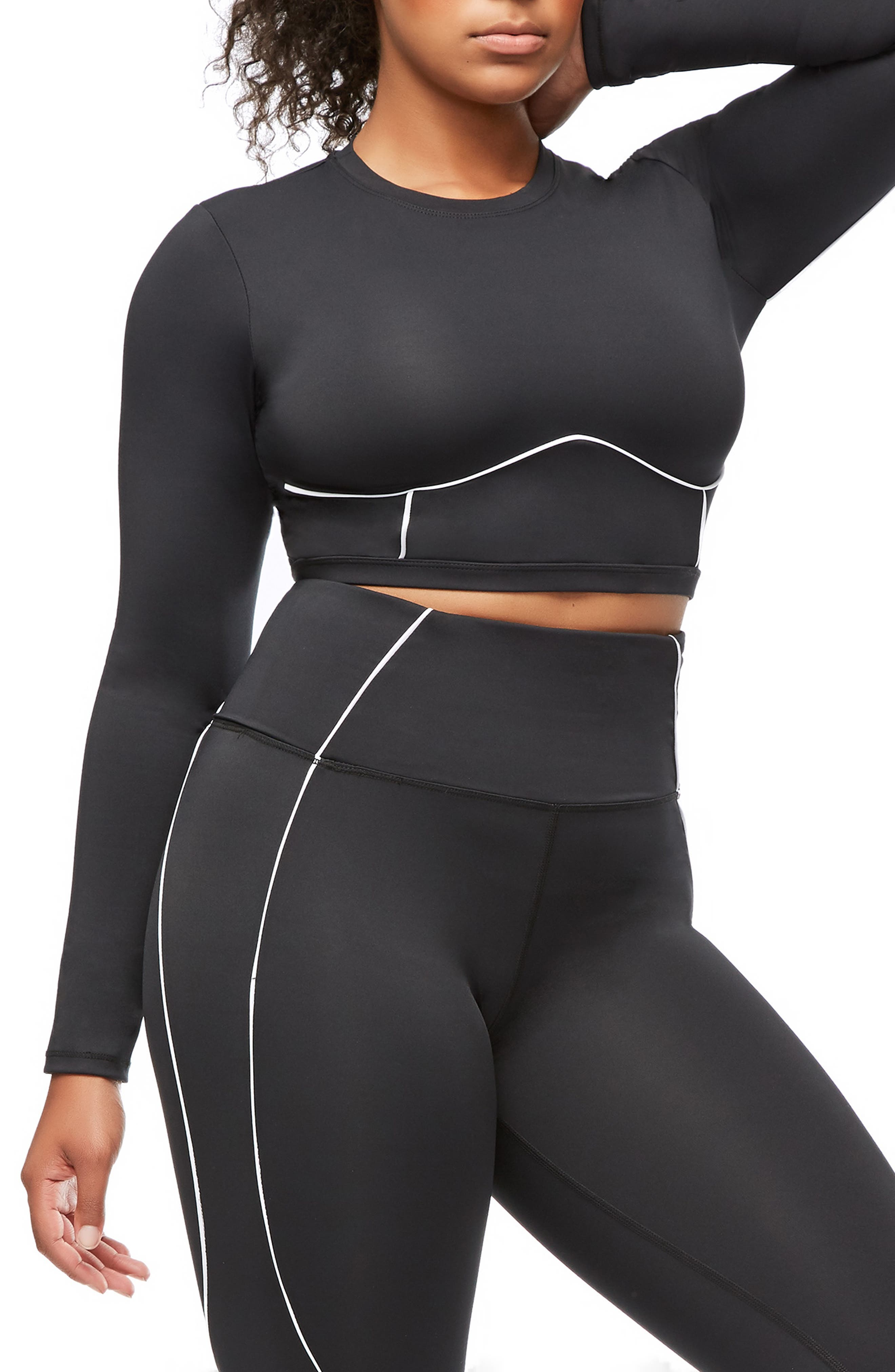 Piped Crop Top,                             Alternate thumbnail 9, color,                             BLACK001