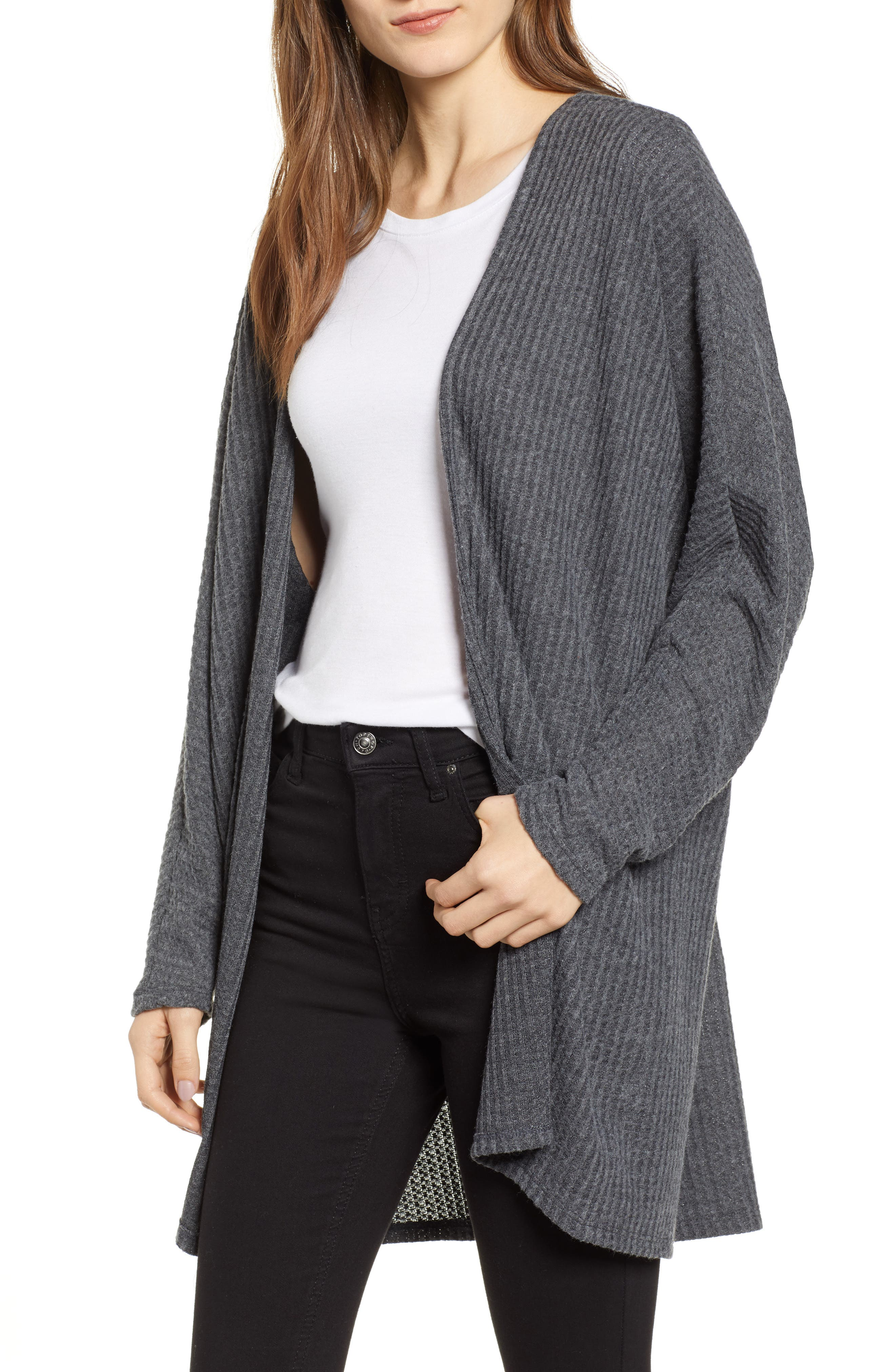 Keep It Casual Thermal Cardigan,                         Main,                         color, CHARCOAL