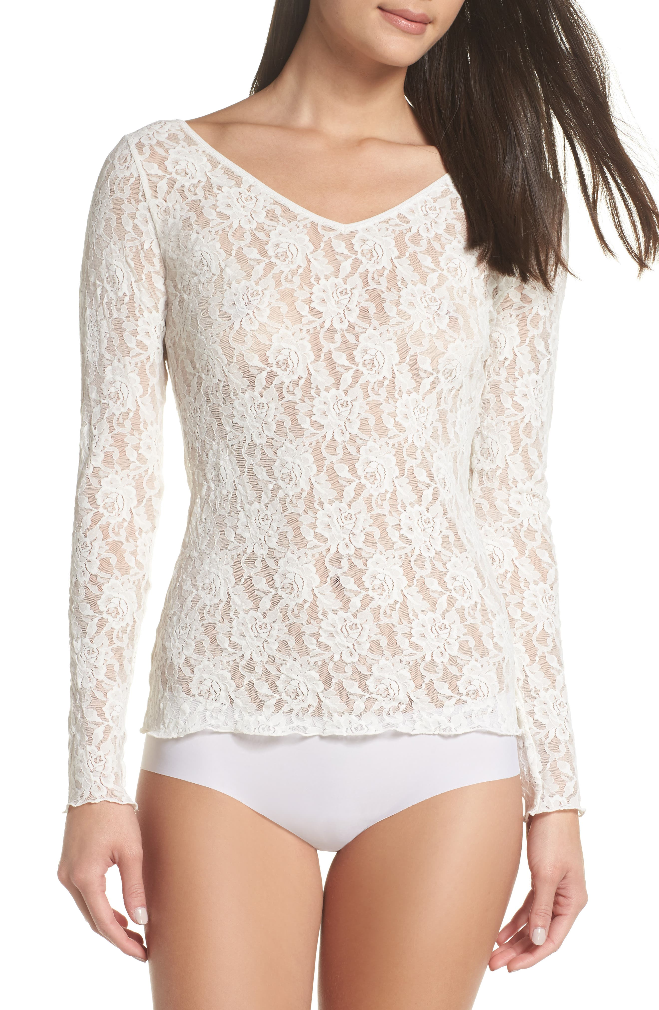 Signature Lace 2-Way Top,                         Main,                         color, MARSHMALLOW