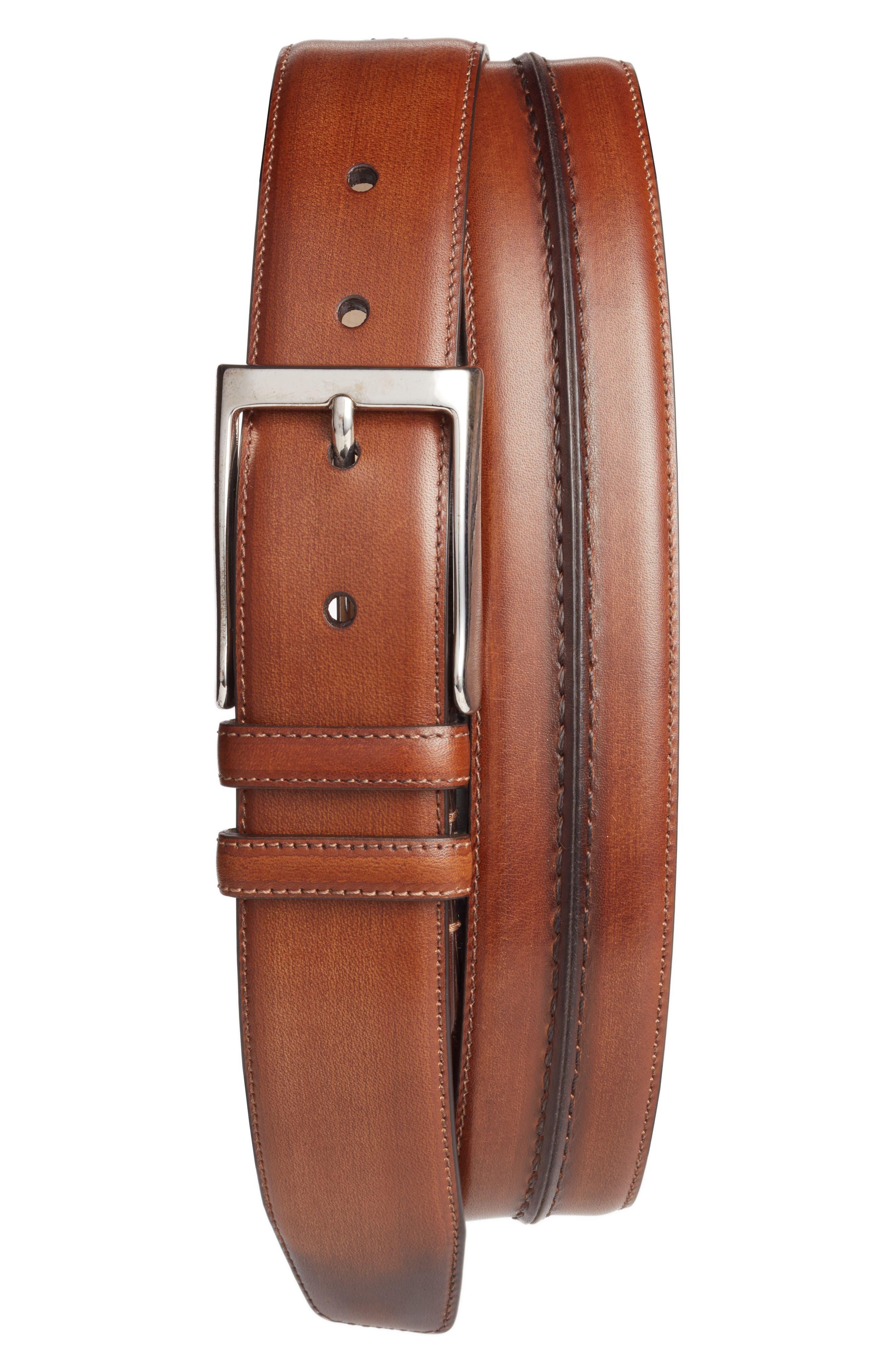 Palma Leather Belt,                         Main,                         color, COGNAC