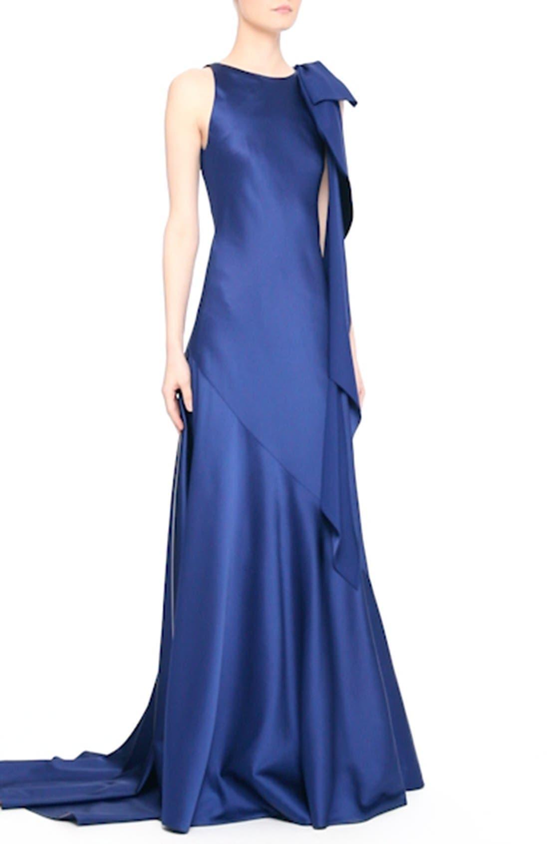 Bow Detail Crepe Satin Gown,                             Alternate thumbnail 7, color,