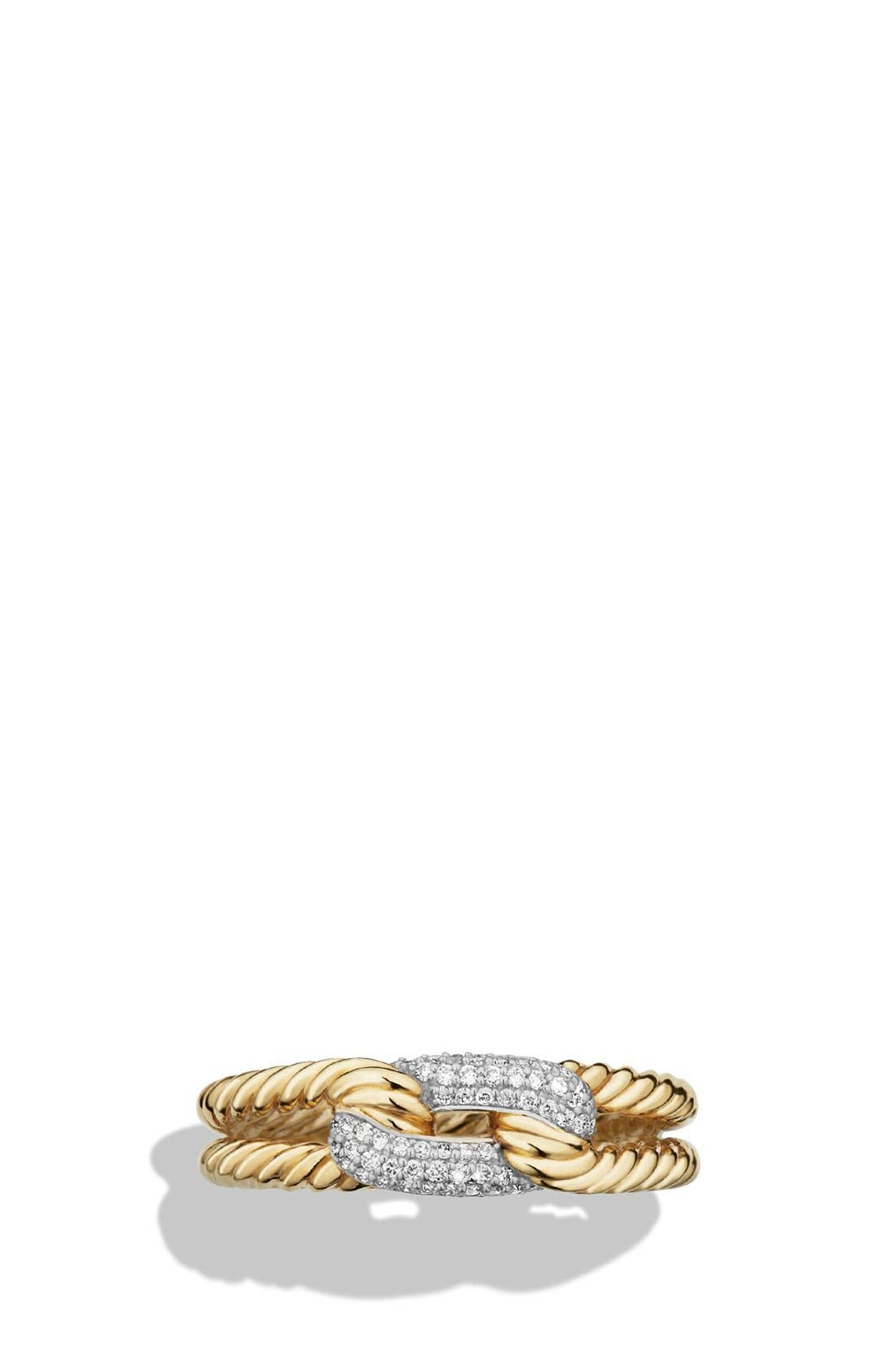 'Petite Pavé' Loop Ring with Diamonds in 18K Gold,                             Alternate thumbnail 4, color,                             GOLD