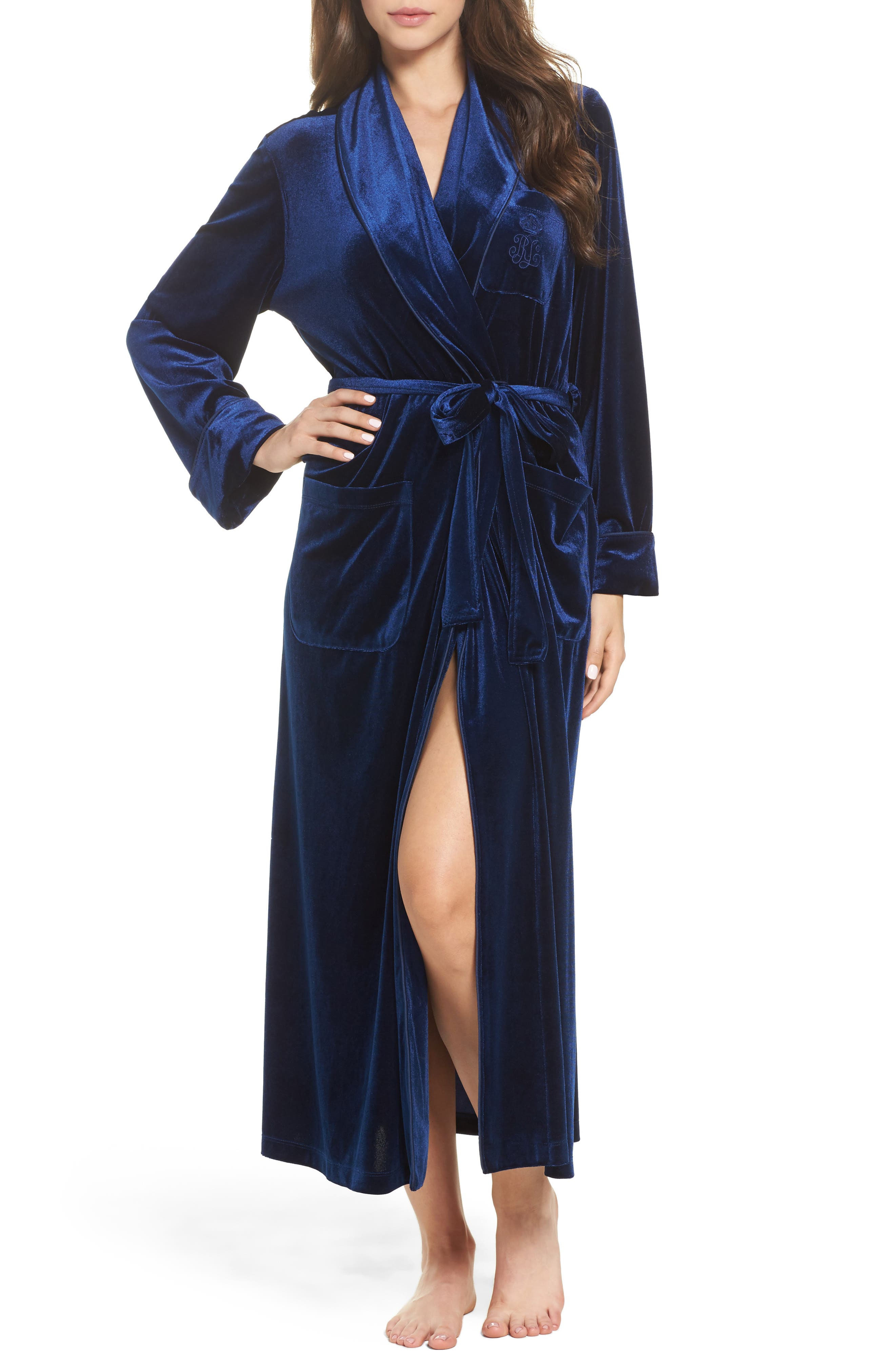 Shawl Collar Velvet Robe,                             Main thumbnail 1, color,